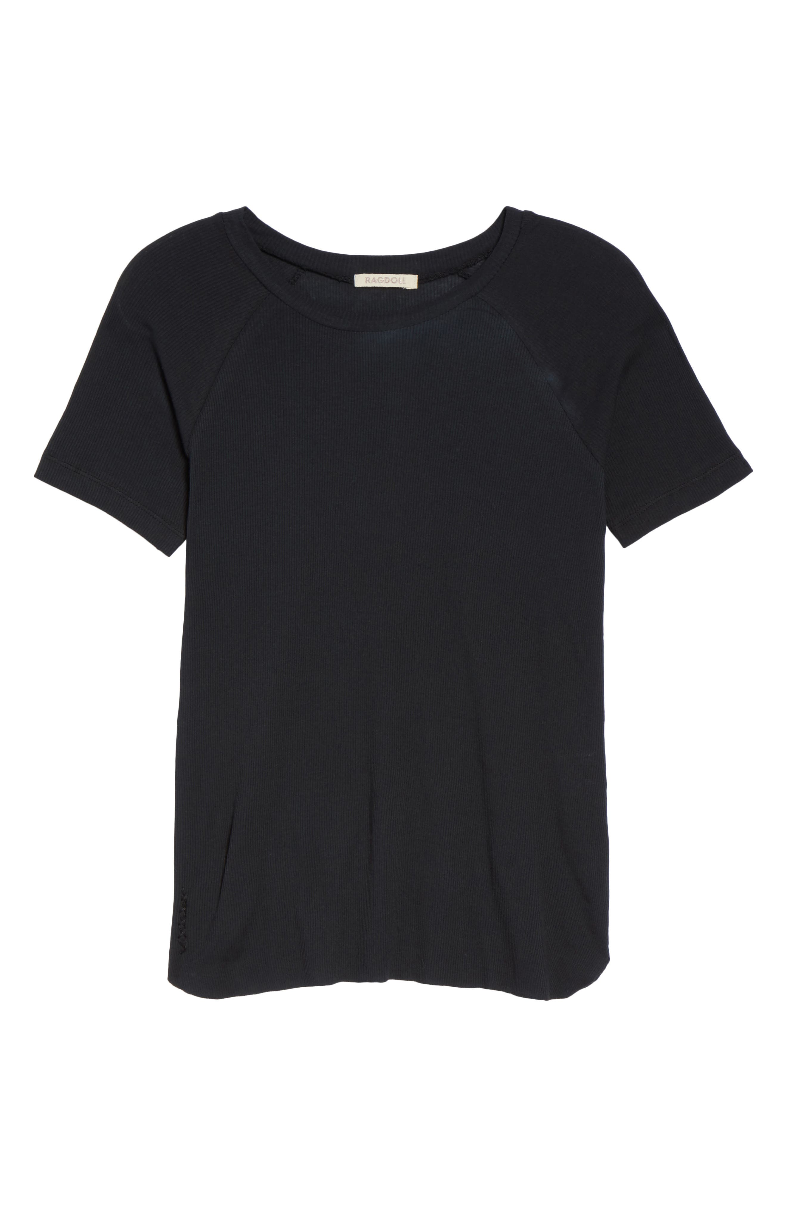 Ribbed Tee,                             Alternate thumbnail 4, color,                             Faded Black