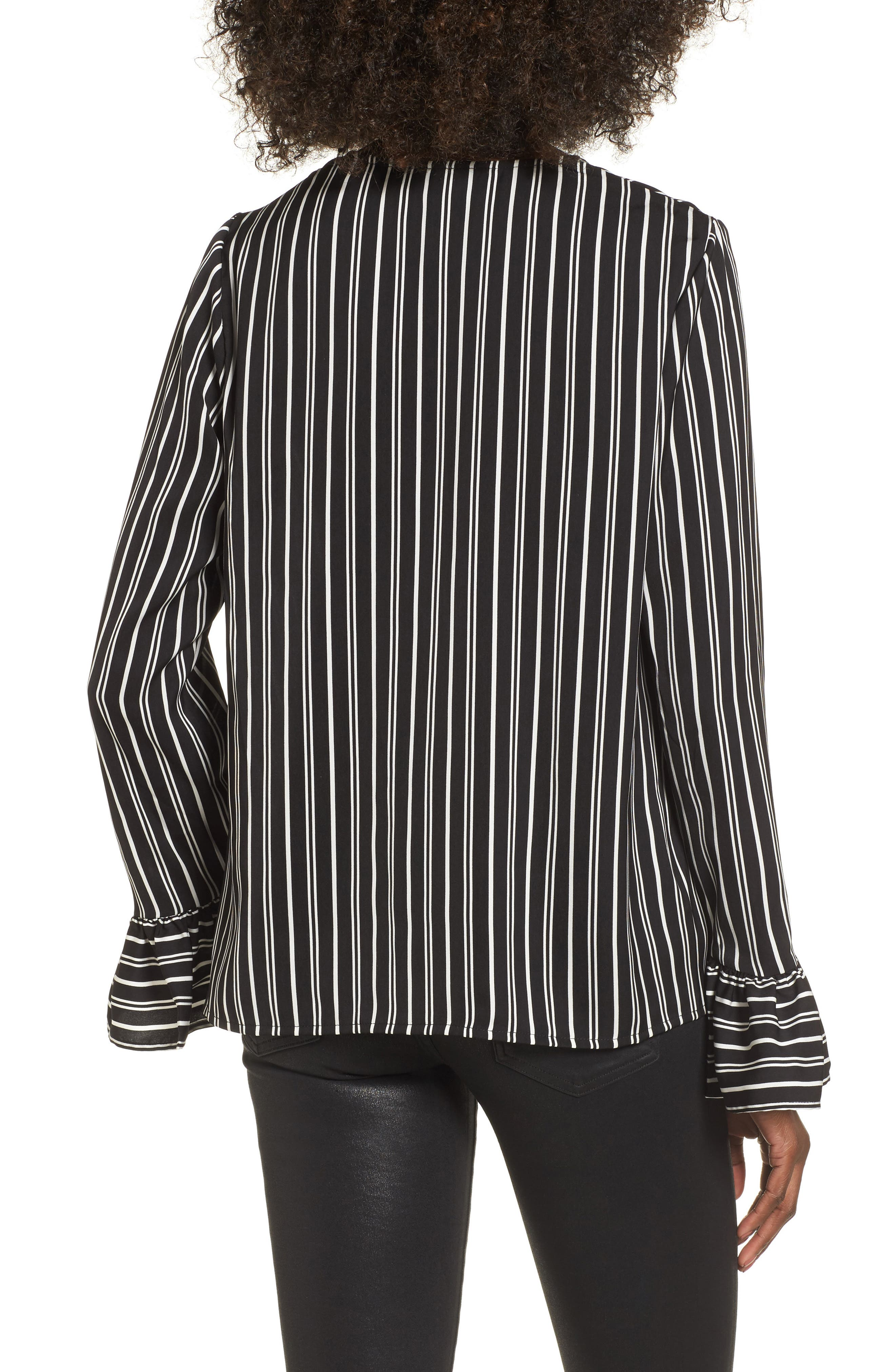Ophelia Stripe Flare Cuff Top,                             Alternate thumbnail 2, color,                             Black W/ Ivory
