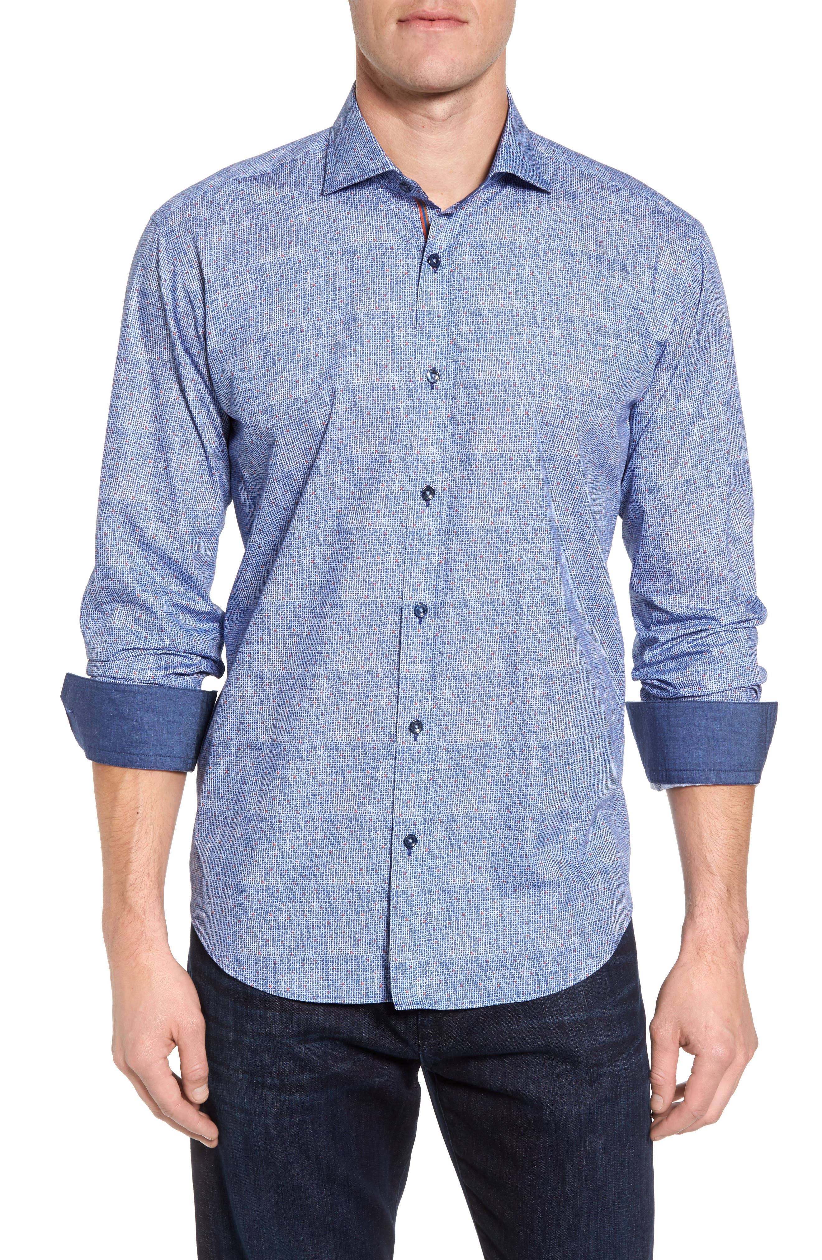 Shaped Fit Plaid Sport Shirt,                         Main,                         color, Classic Blue