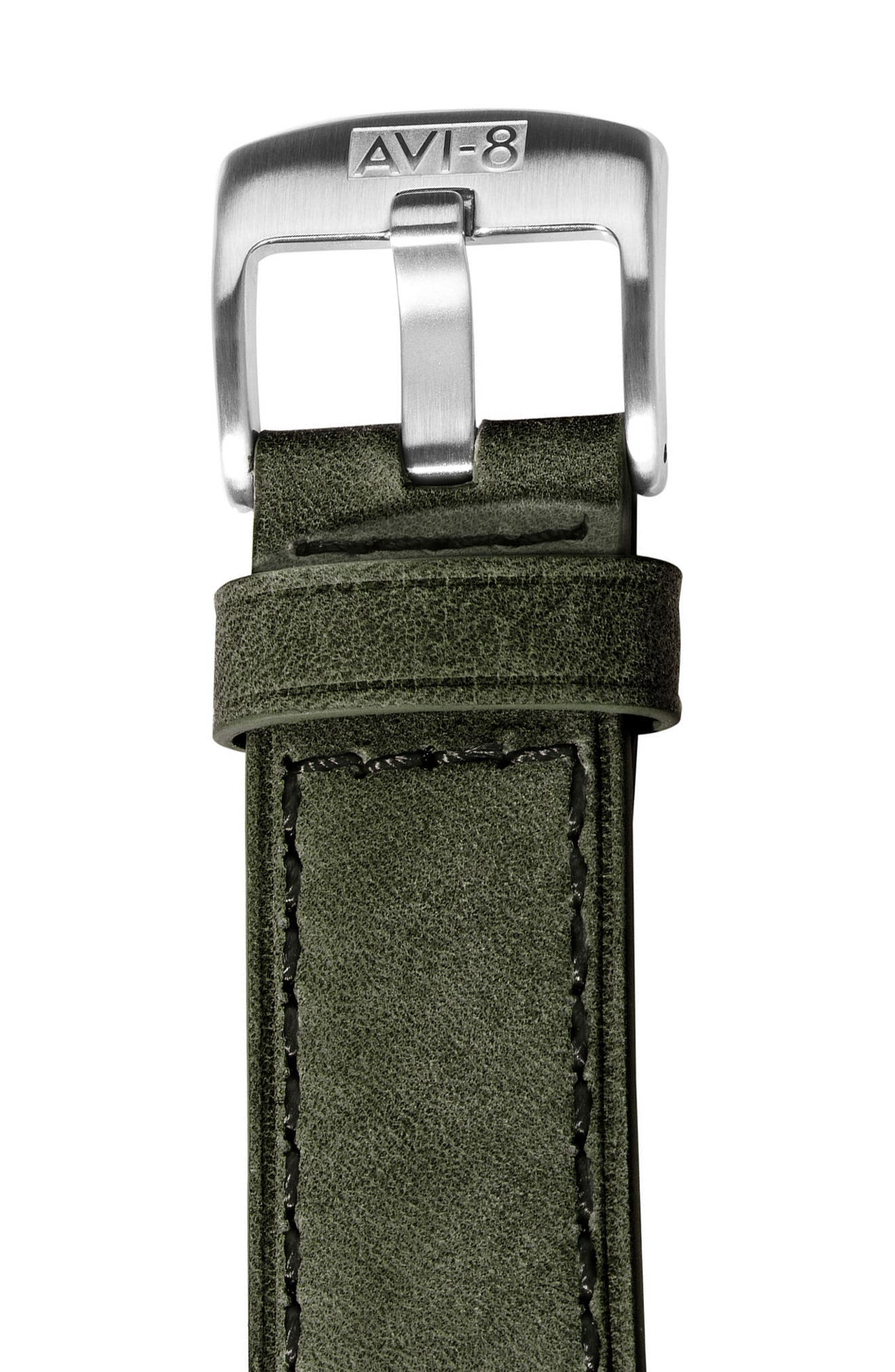 Hawker Harrier II Turbine Chronograph Leather Strap Watch, 45mm,                             Alternate thumbnail 3, color,                             Green/ Green