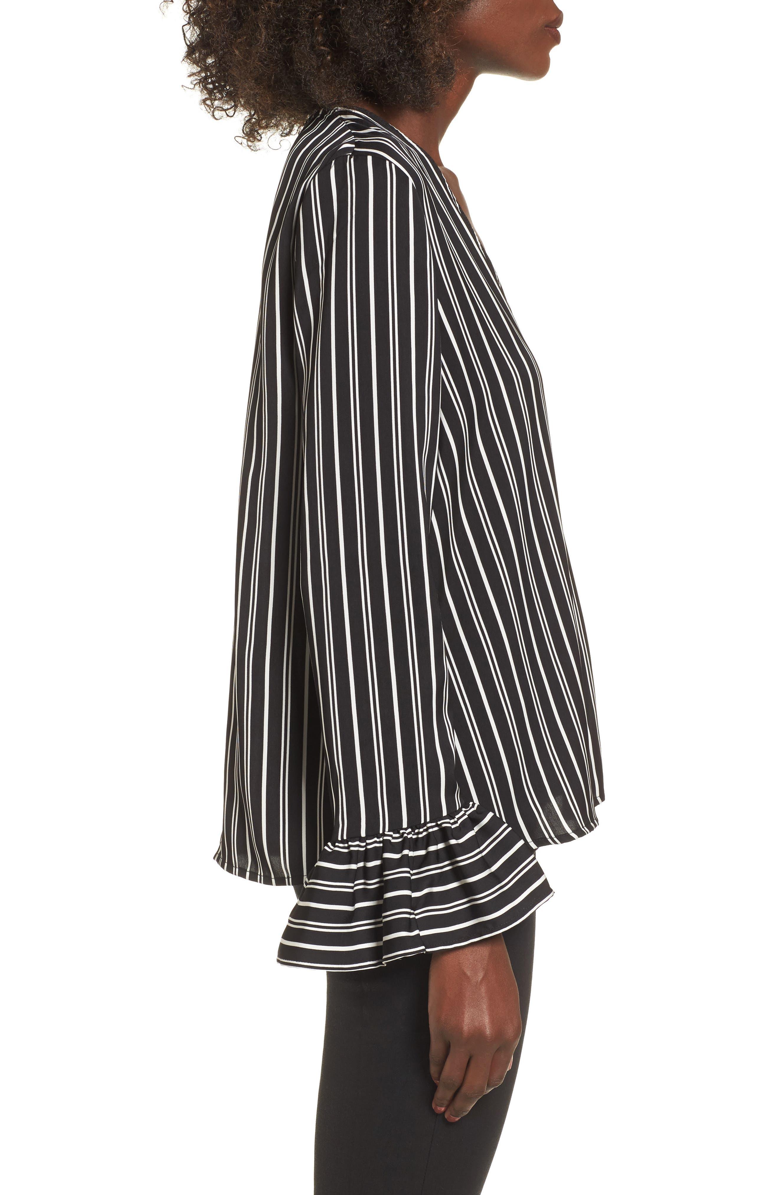 Ophelia Stripe Flare Cuff Top,                             Alternate thumbnail 3, color,                             Black W/ Ivory