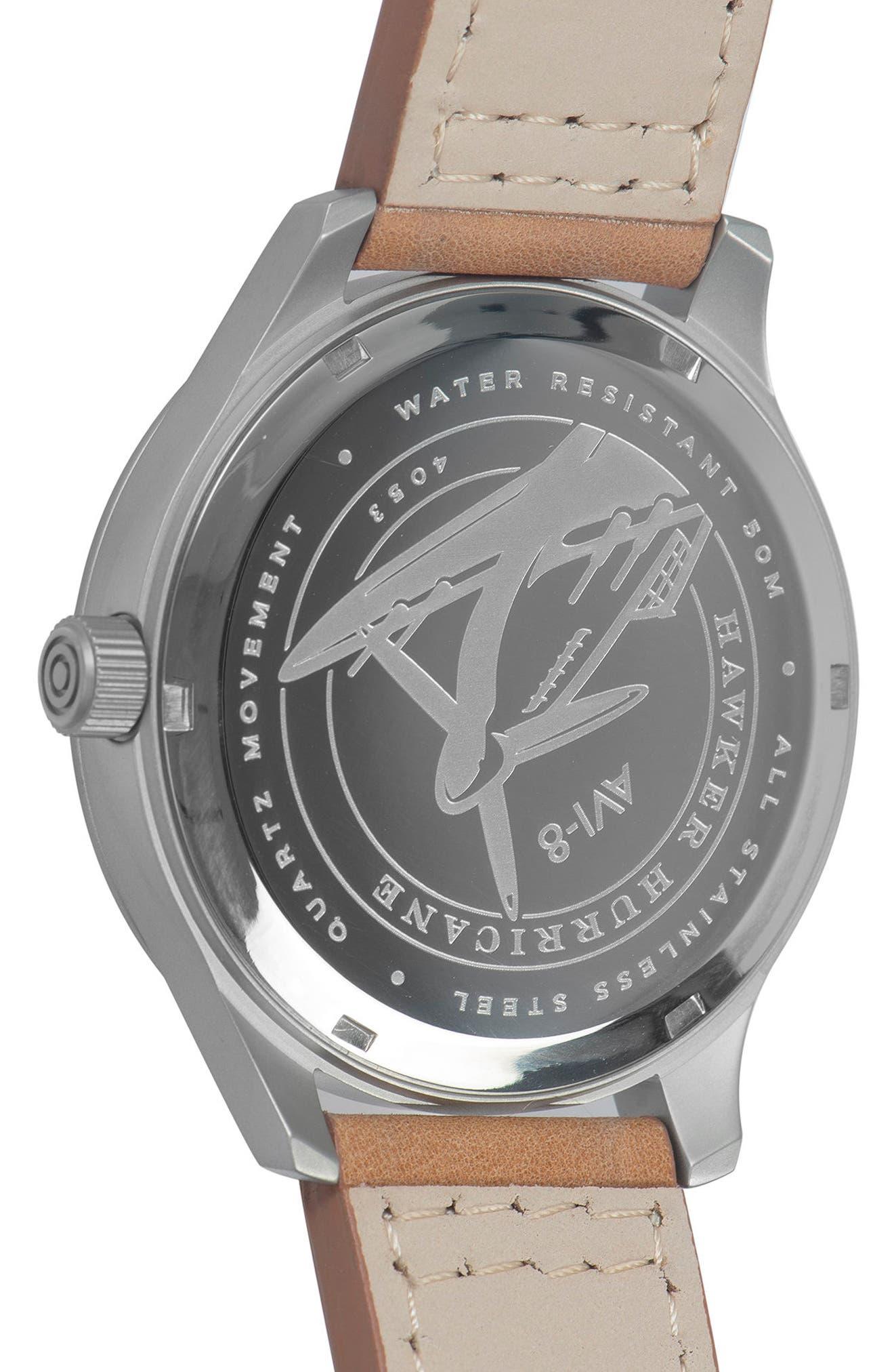 Alternate Image 4  - AVI-8 Hawker Hurricane Leather Strap Watch, 43mm