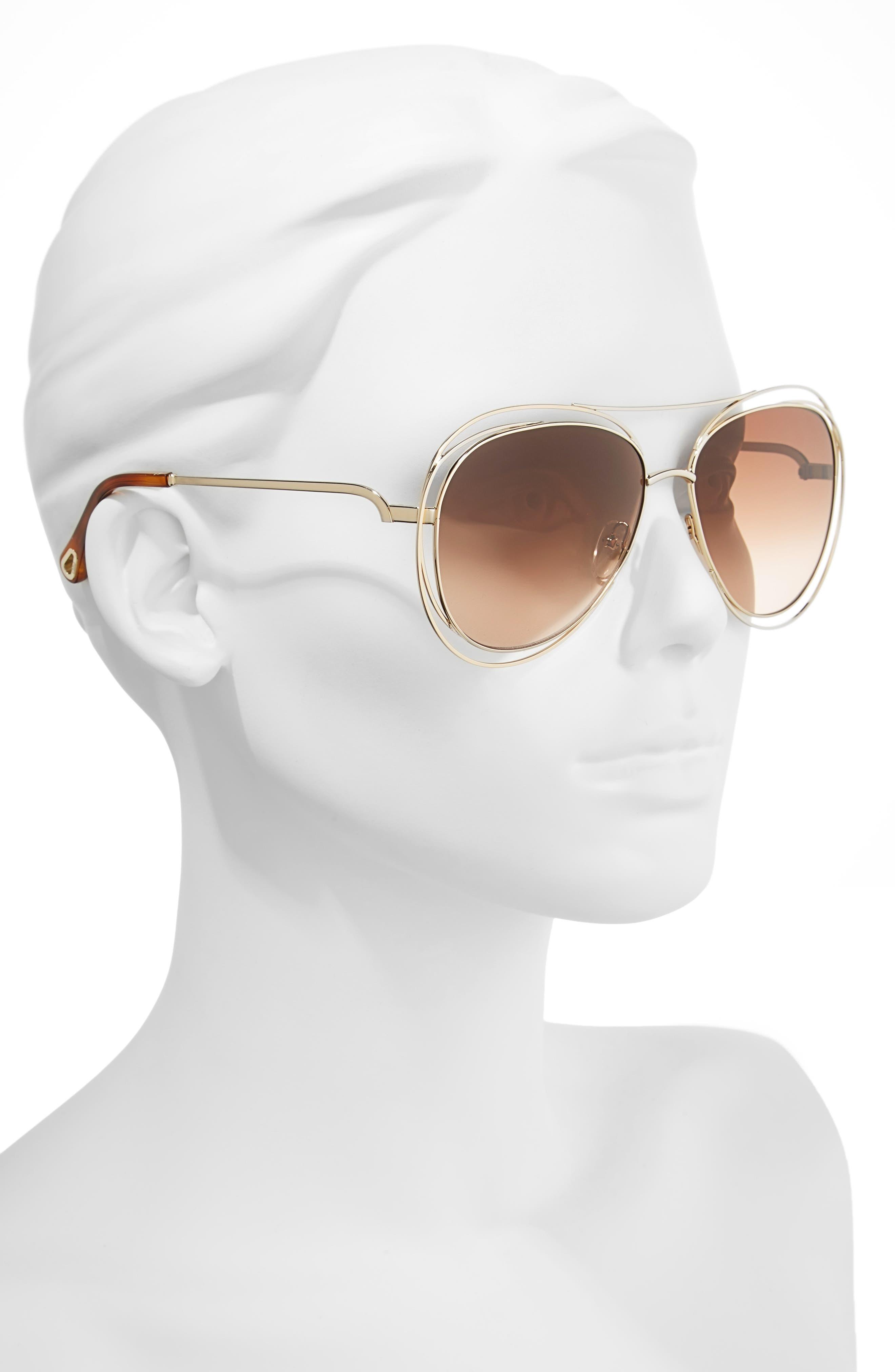 61mm Aviator Sunglasses,                             Alternate thumbnail 2, color,                             Gold/ Havana