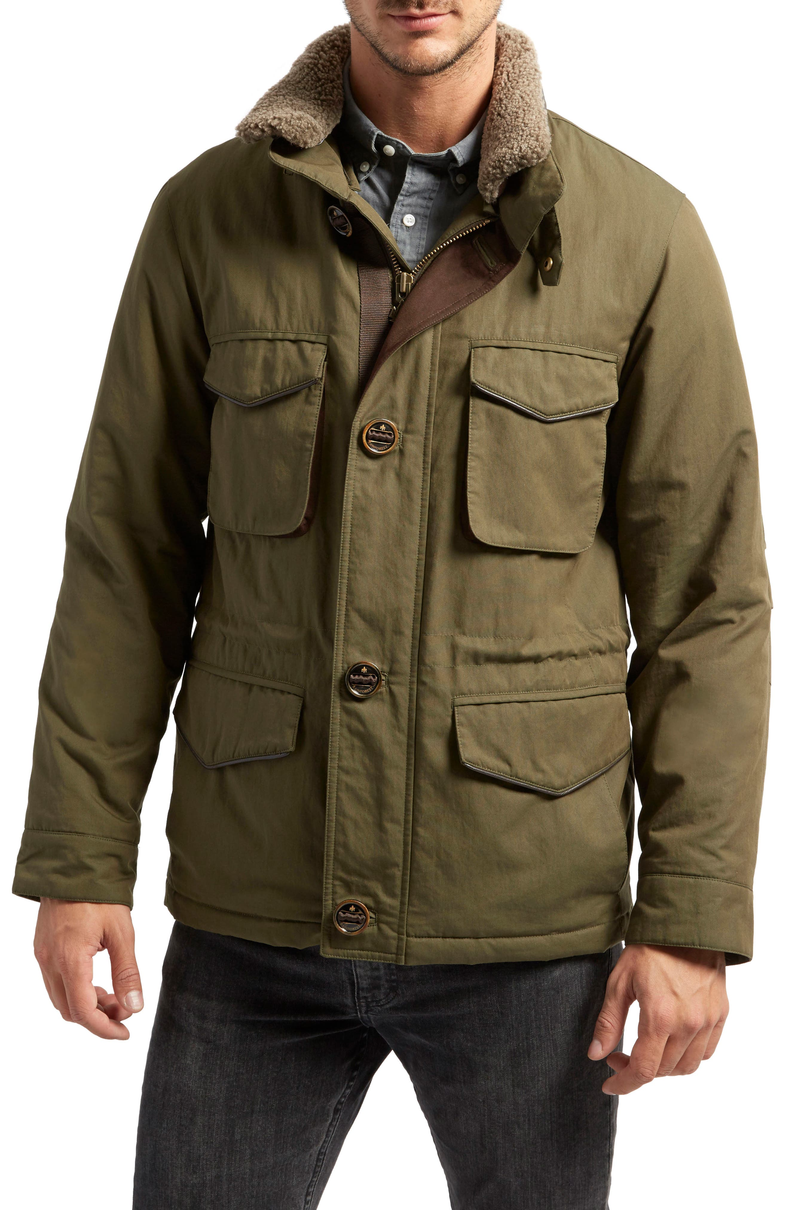 Flagler Heat System Field Jacket with Genuine Shearling Collar,                         Main,                         color, Olive