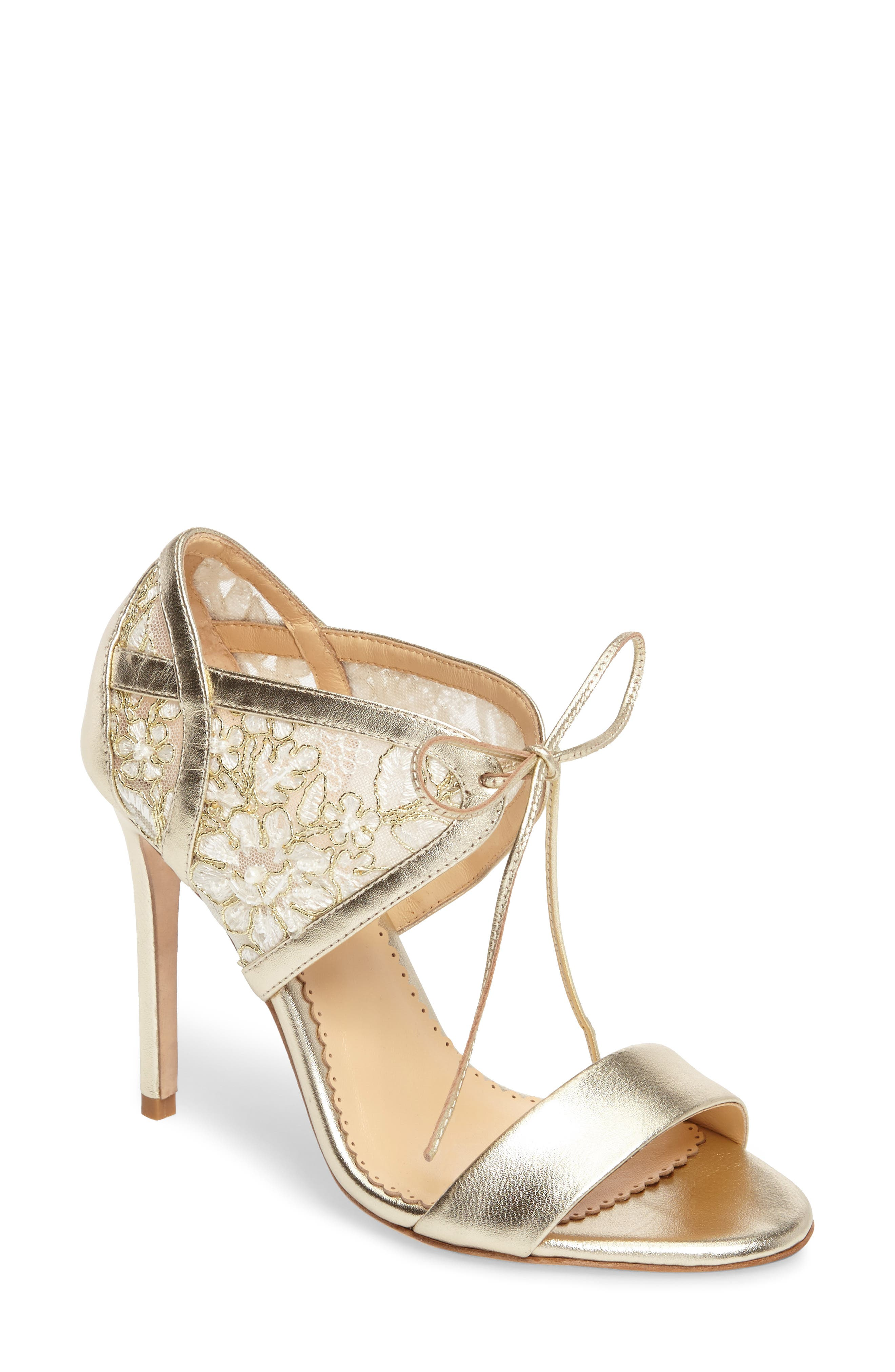 Grace Ankle Cuff Sandal,                             Main thumbnail 1, color,                             Gold Lace