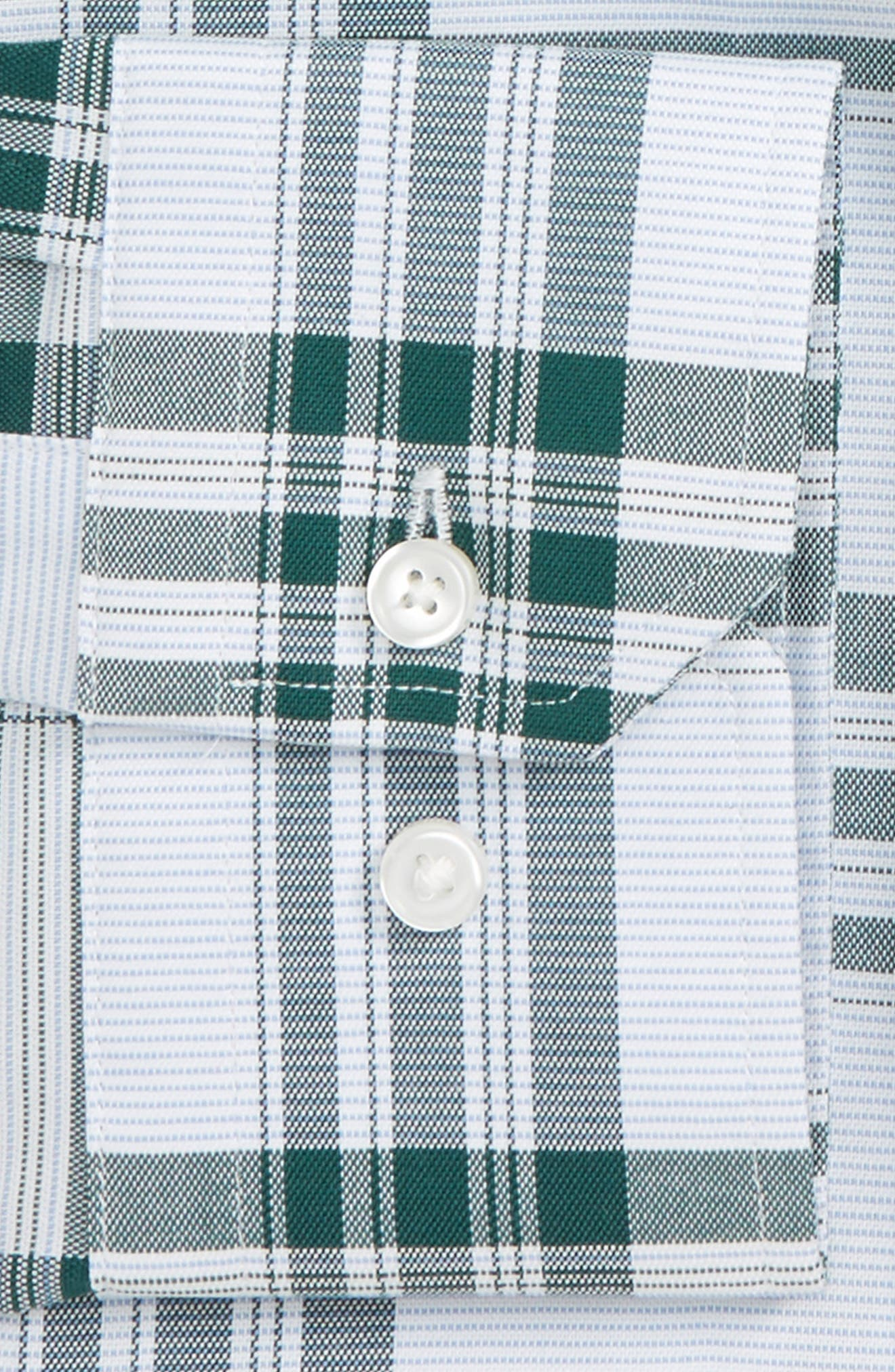 Trim Fit Plaid Non-Iron Stretch Dress Shirt,                             Alternate thumbnail 2, color,                             Green Bistro