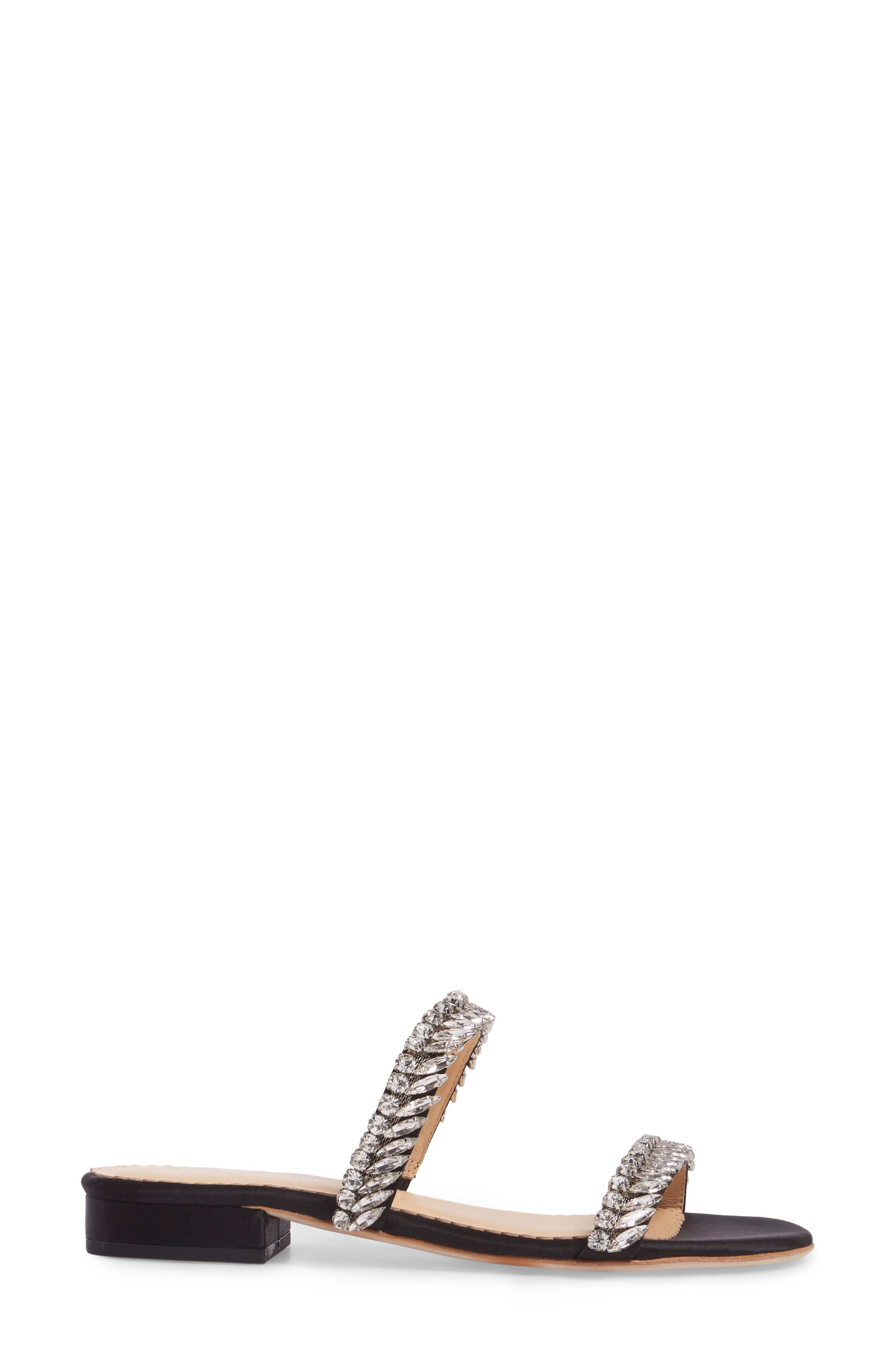 Bree Jeweled Evening Sandal,                             Alternate thumbnail 3, color,                             Black
