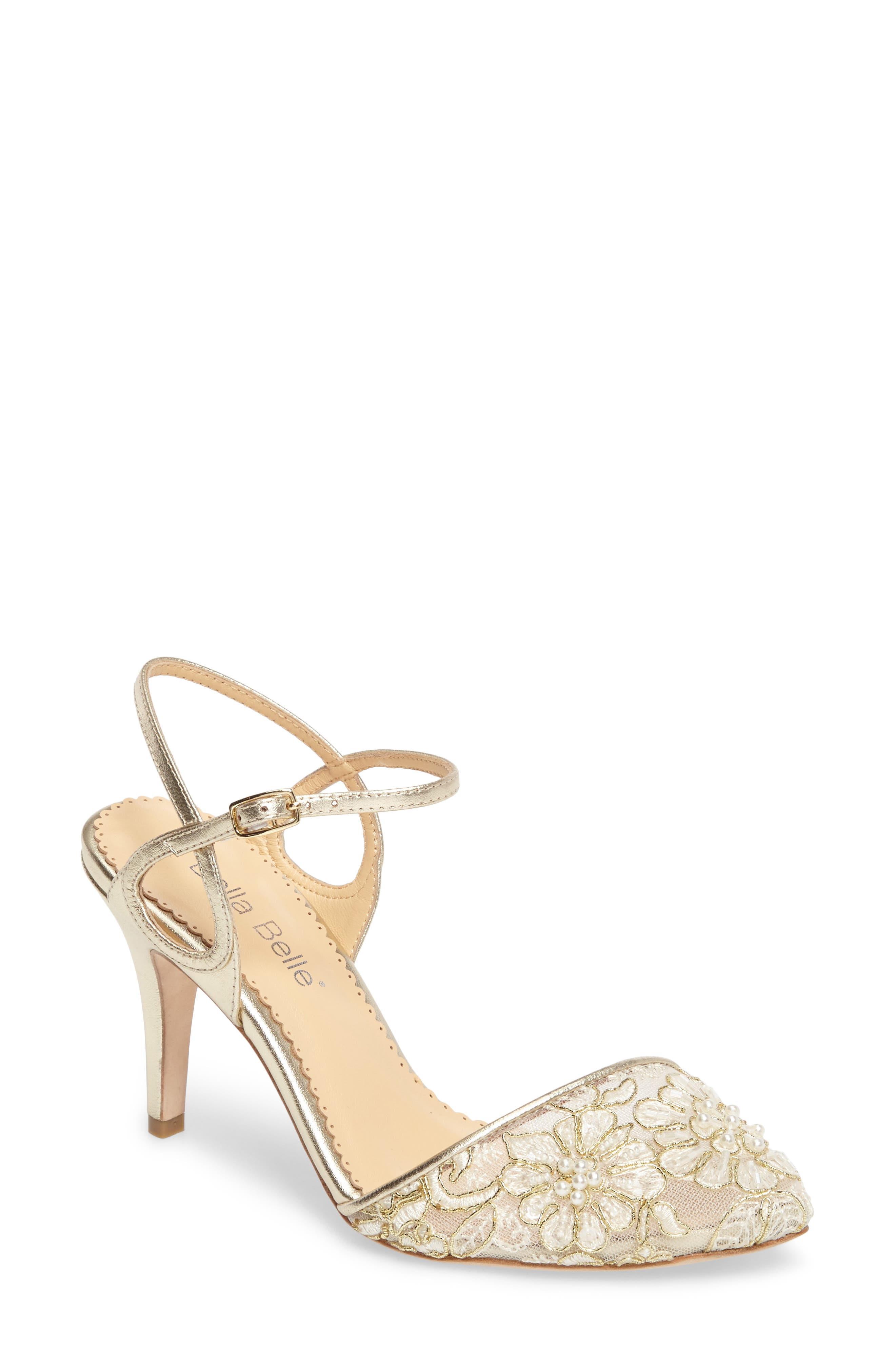 Madeline Embellished Lace Pump,                             Main thumbnail 1, color,                             Gold Lace