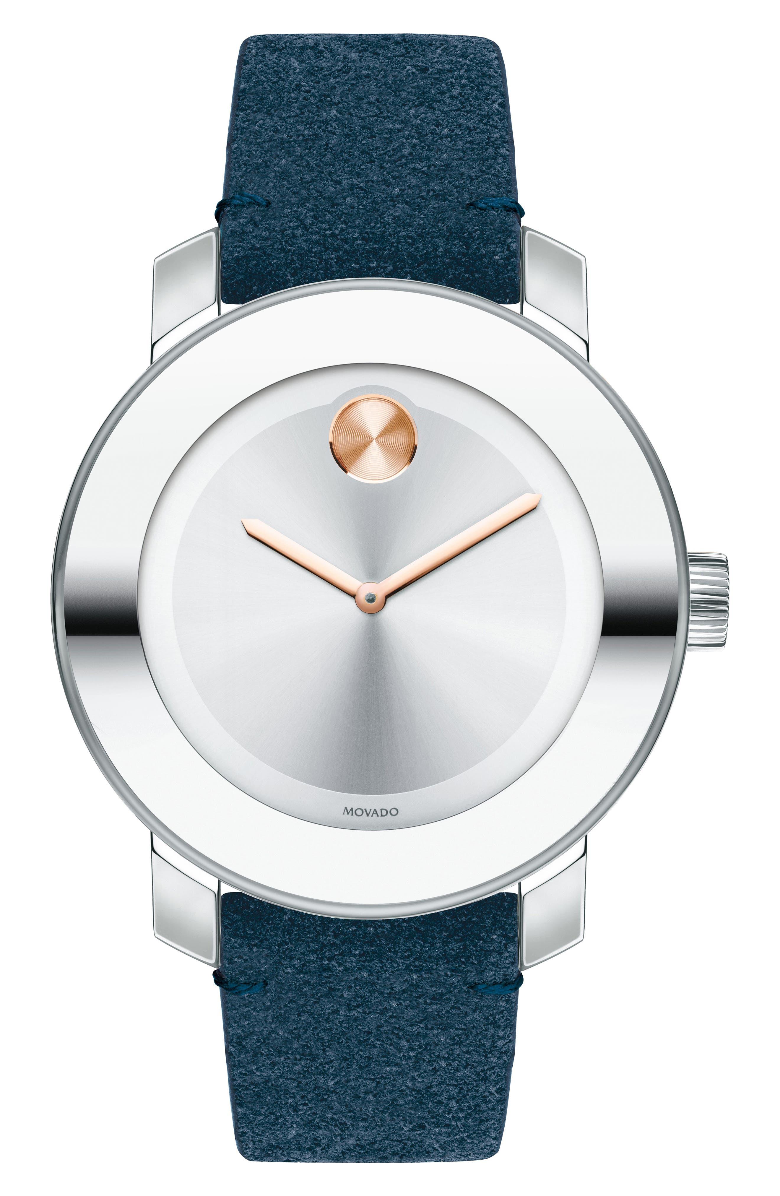 Movado Bold Iconic Suede Strap Watch, 36mm