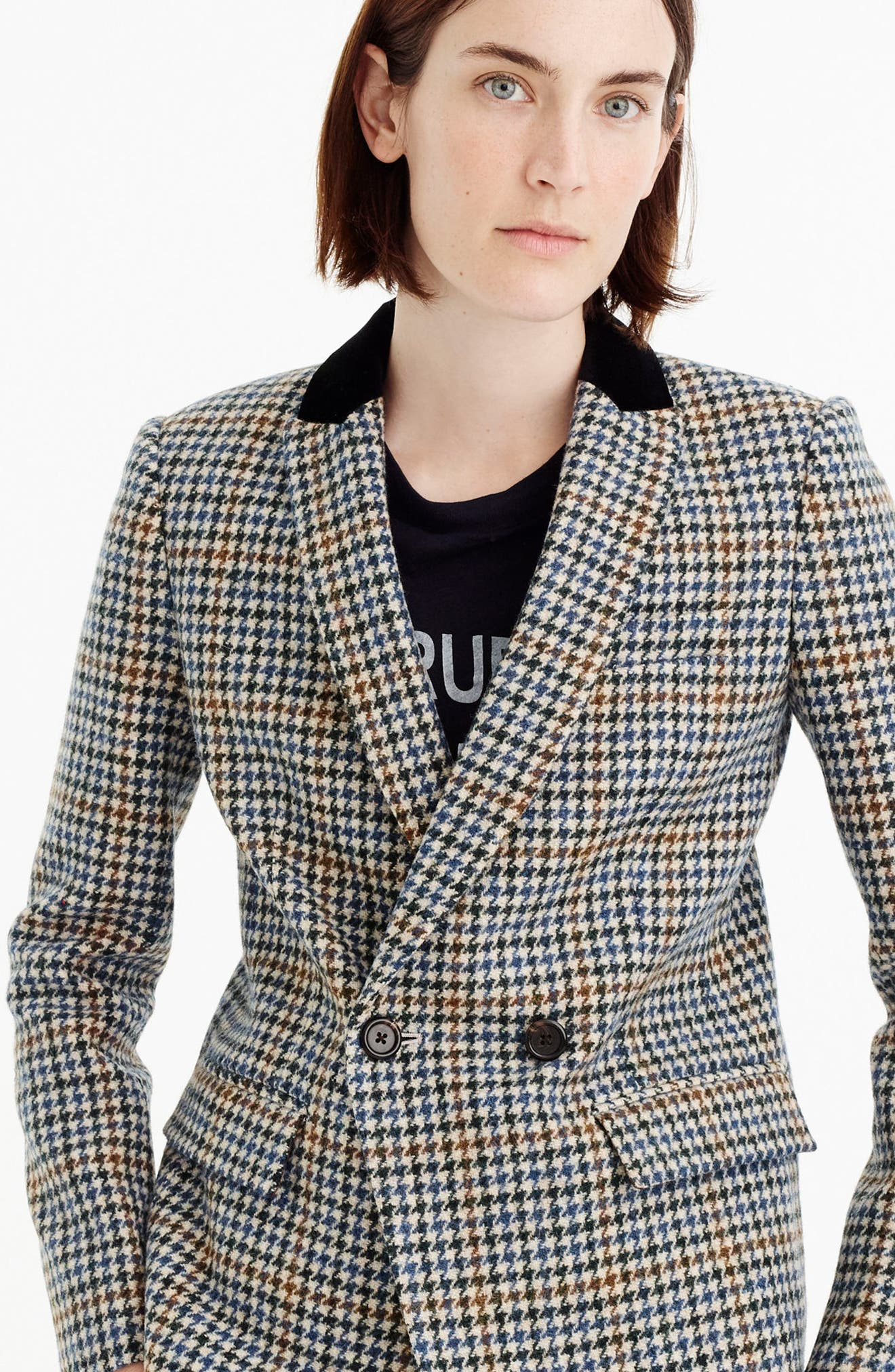 J.Crew Dover Houndstooth Blazer,                             Alternate thumbnail 2, color,                             Navy/ Brown/ Cream