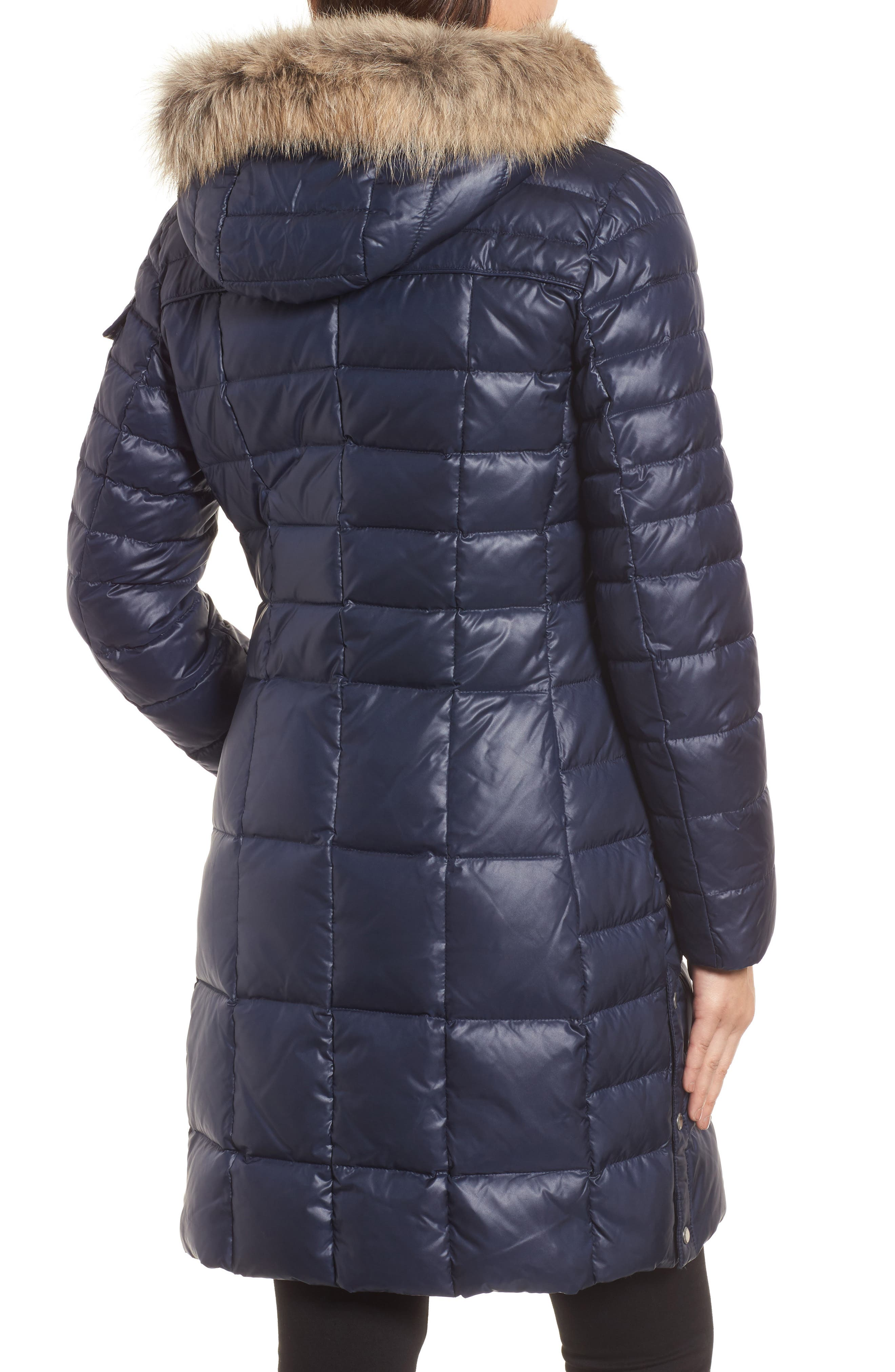 Quilted Coat with Genuine Coyote Fur,                             Alternate thumbnail 2, color,                             Navy