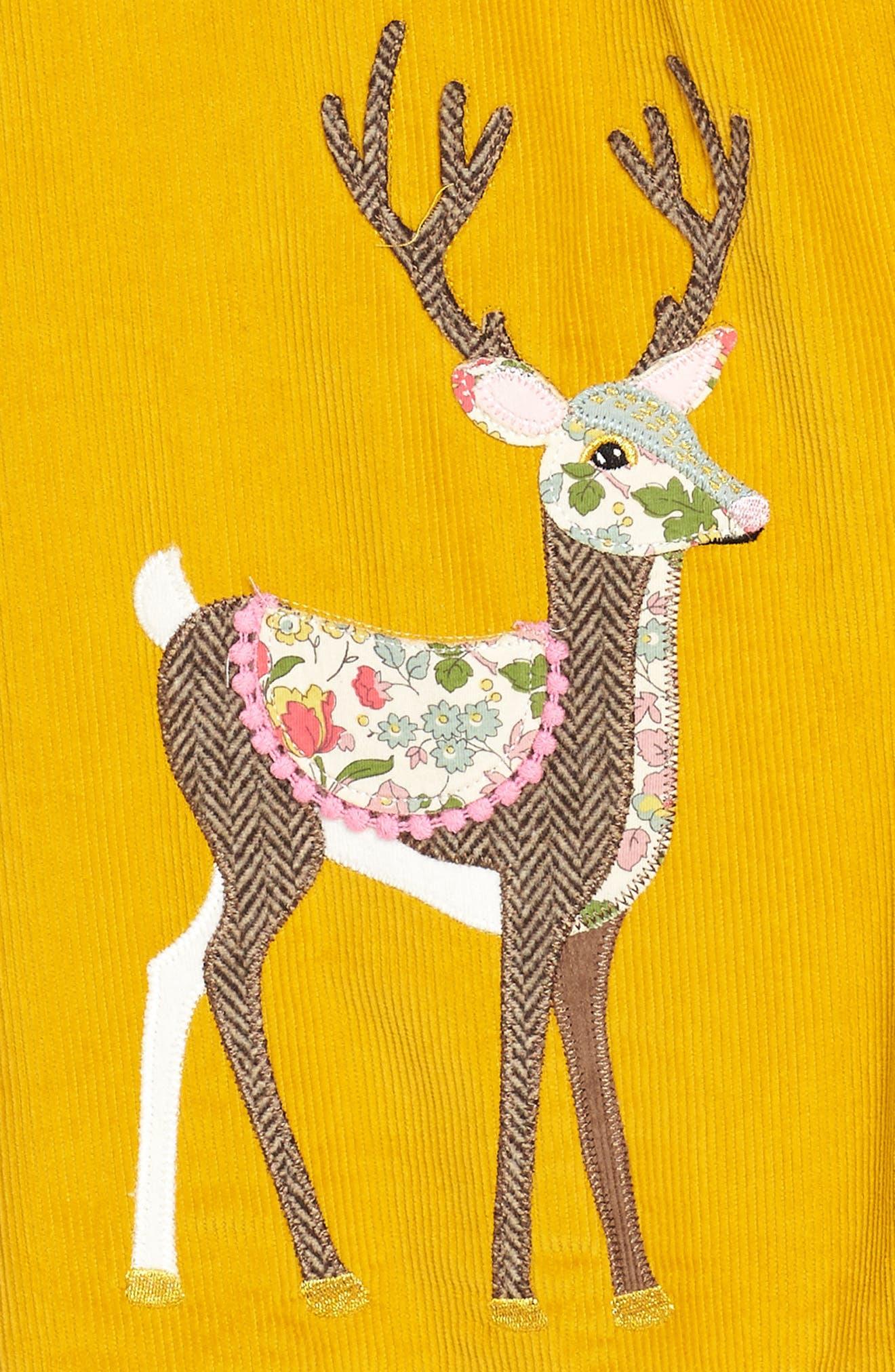 Animal Appliqué Dress,                             Alternate thumbnail 3, color,                             Saffron Yellow Deer Yel