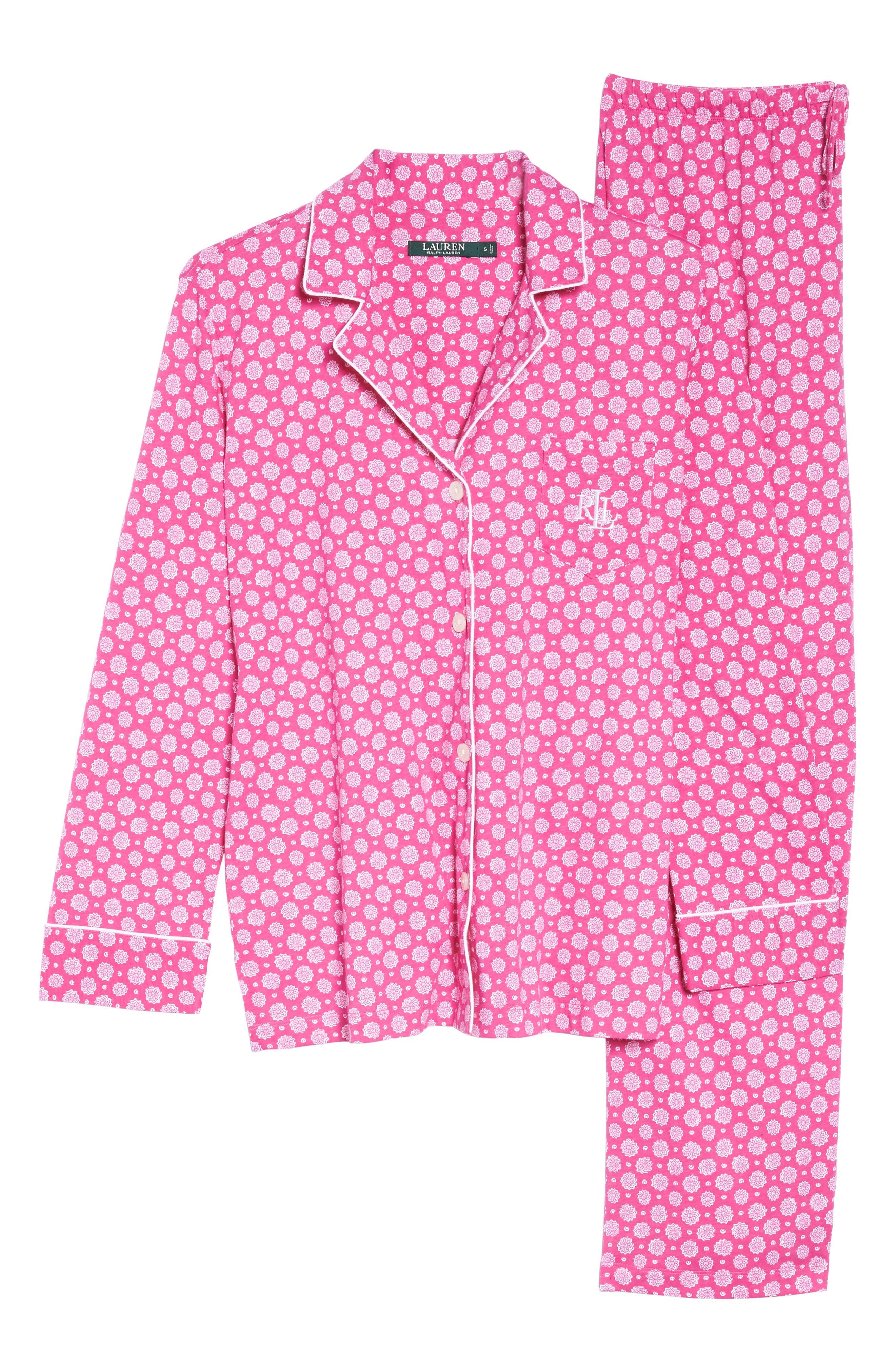 Notch Collar Pajamas,                             Alternate thumbnail 6, color,                             Pink Floral