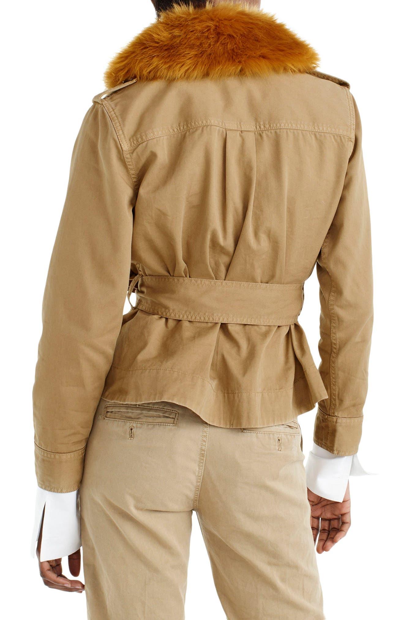Alternate Image 2  - J.Crew Peplum Chino Faux Fur Collar Jacket