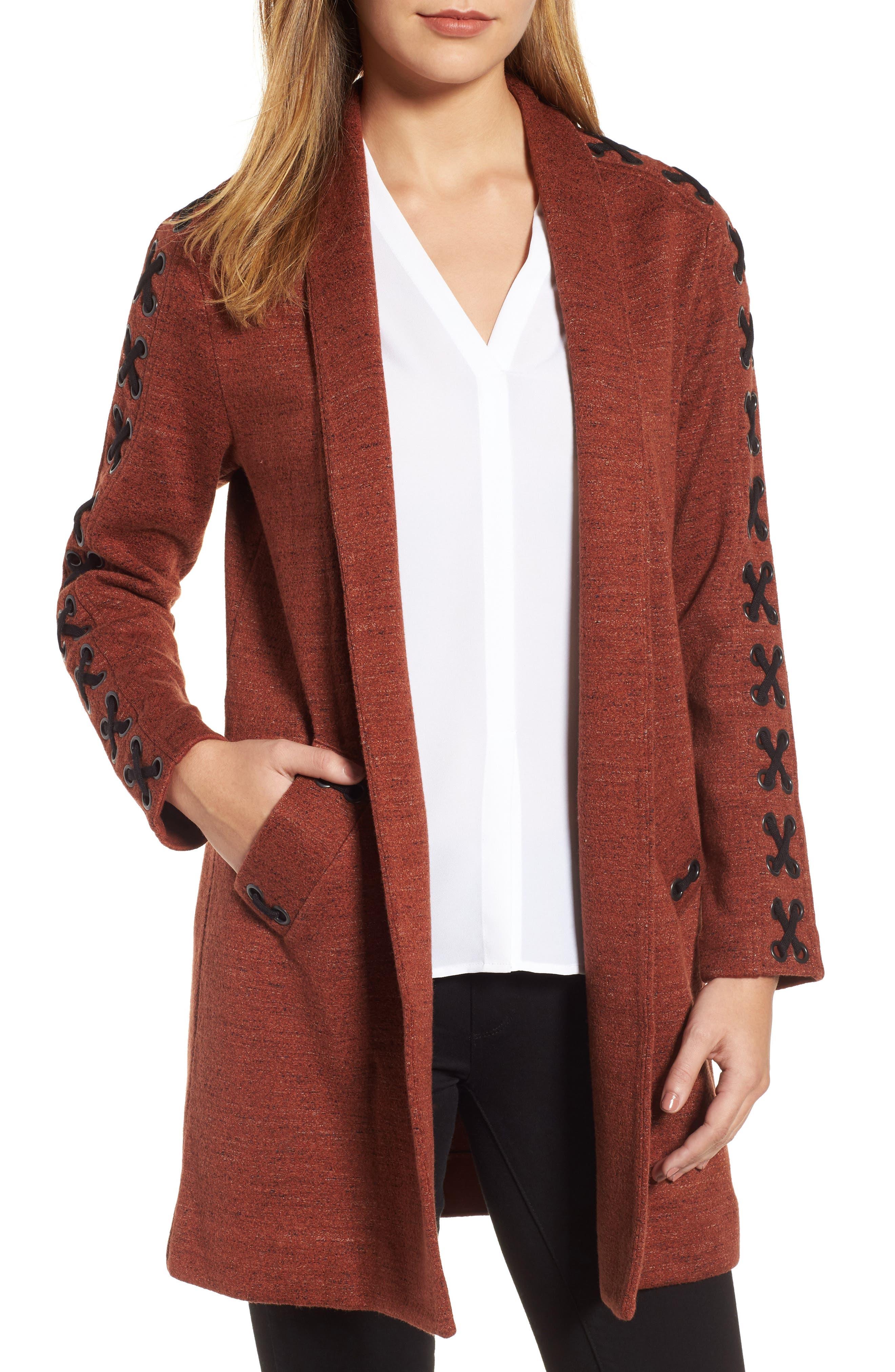 Alternate Image 1 Selected - NIC+ZOE Crisscross Detail Knit Jacket (Regular & Petite)