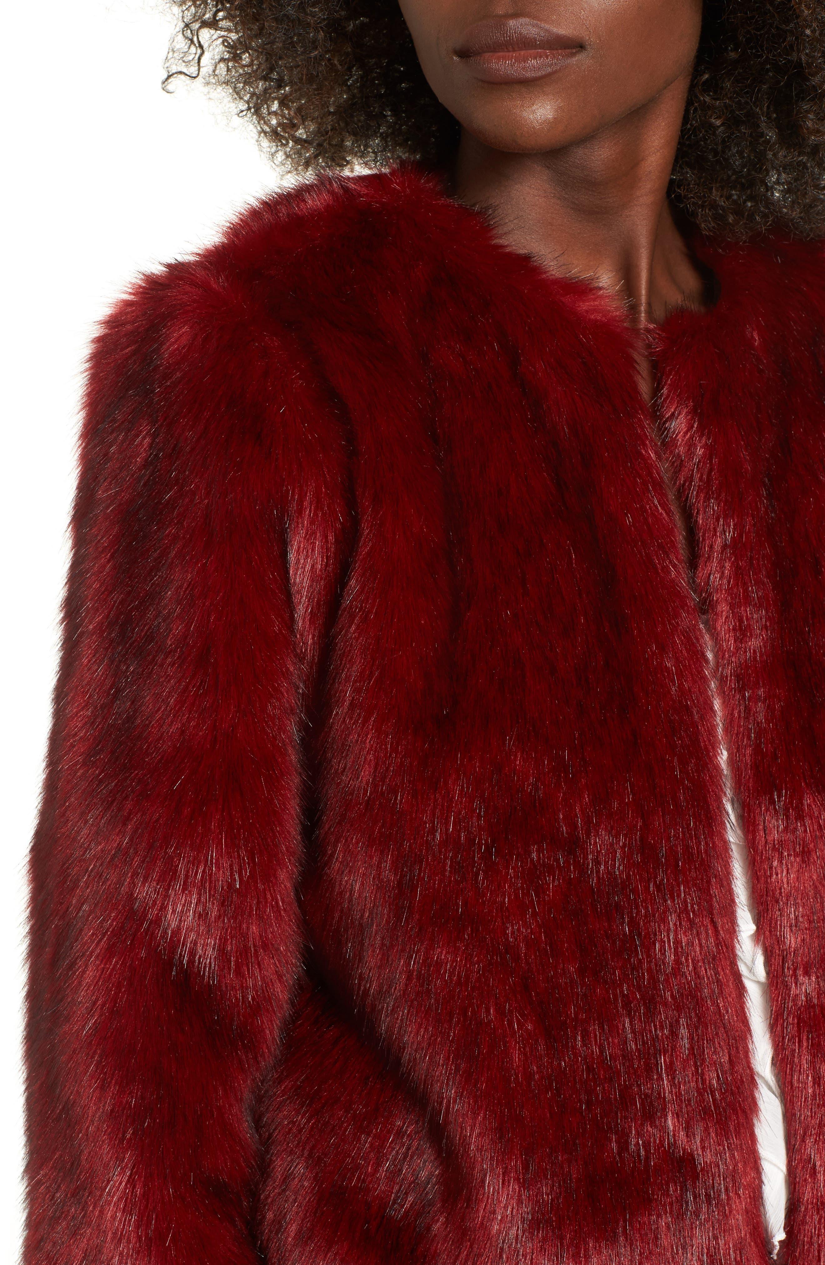 Faux Fur Jacket,                             Alternate thumbnail 4, color,                             Rouge Mink