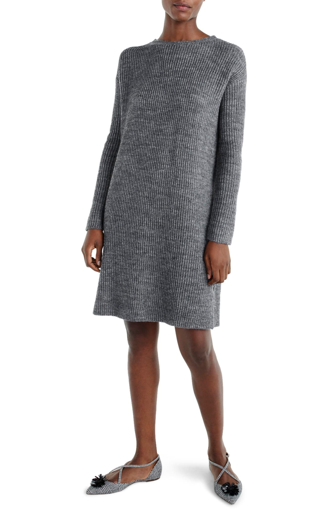 J.Crew Bow Tie Open Back Sweater Dress,                         Main,                         color, Heather Flannel