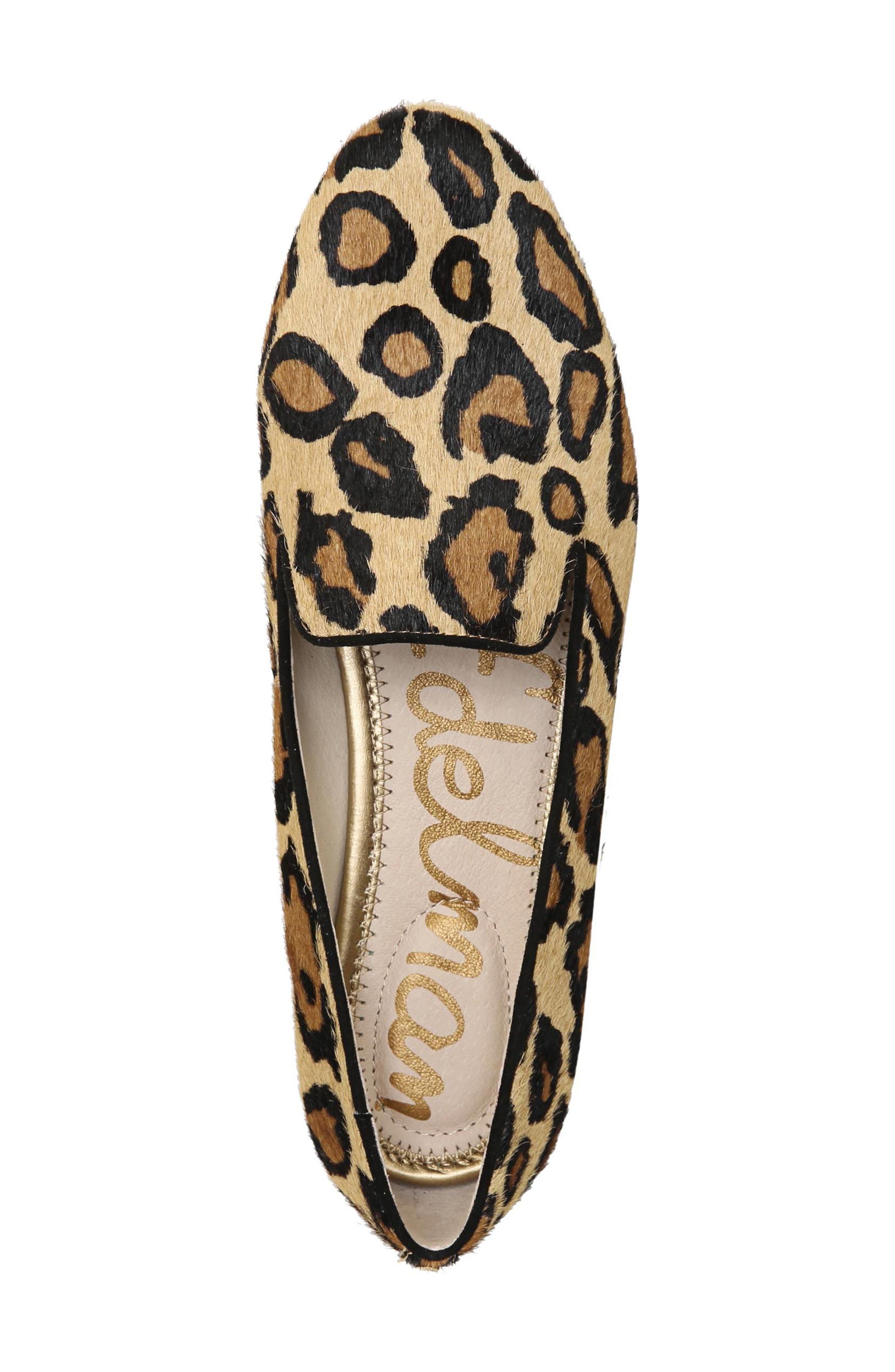 Jordy Genuine Calf Hair Flat,                             Alternate thumbnail 5, color,                             New Nude Leopard Brahma Hair