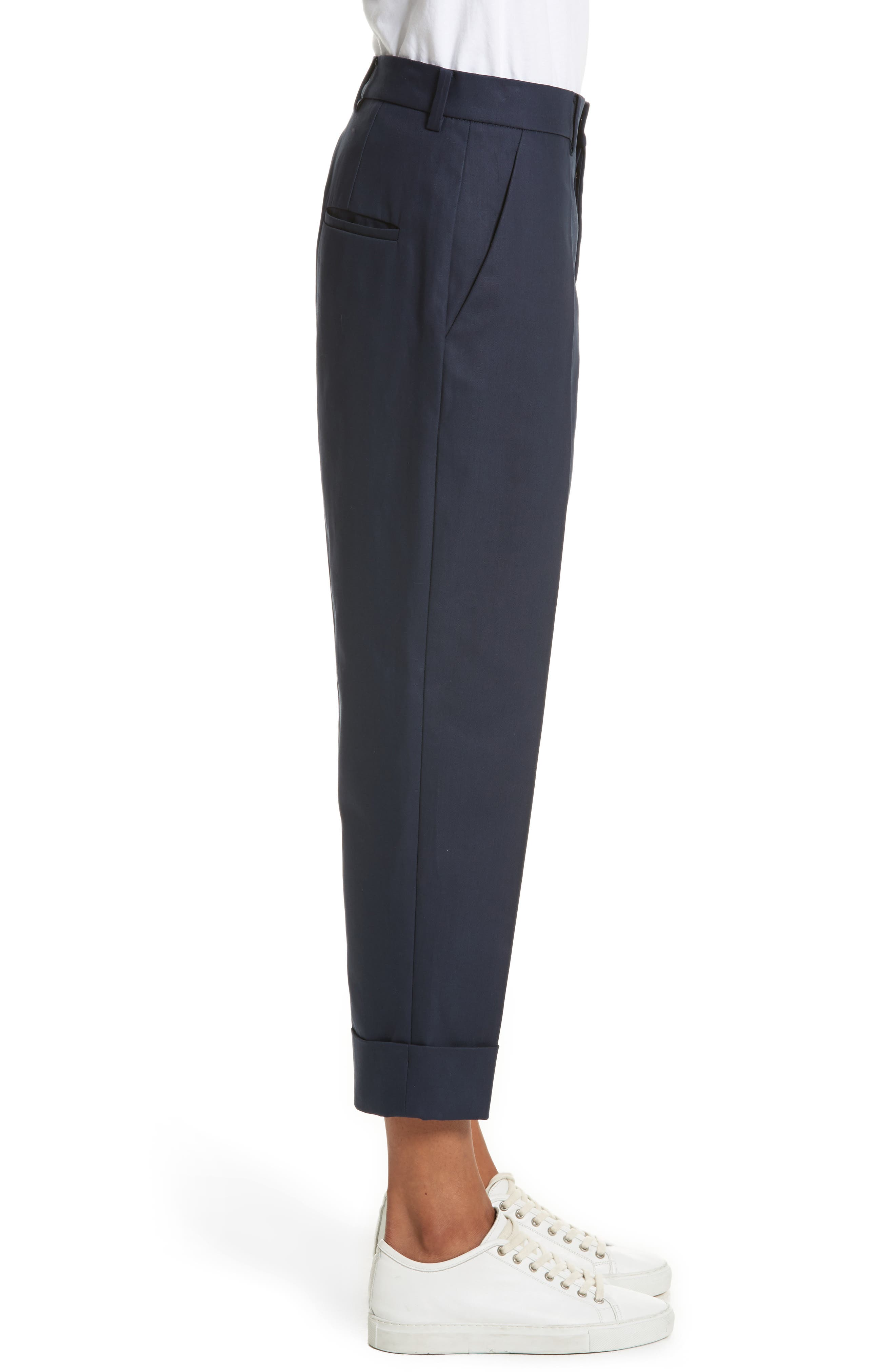 Cuffed Crop Pants,                             Alternate thumbnail 3, color,                             Navy Blue