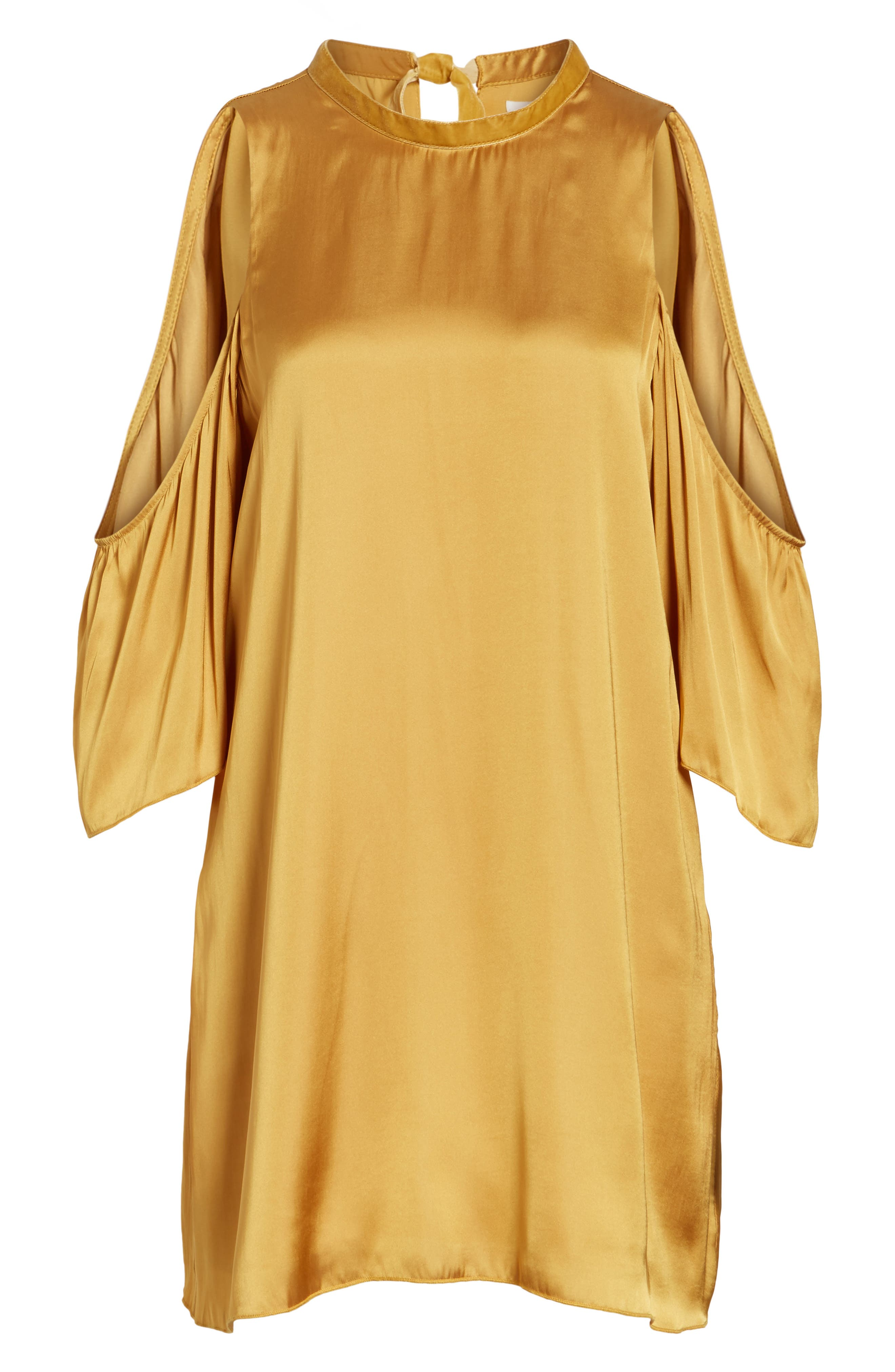 Rablo Cold Shoulder Satin Dress,                             Alternate thumbnail 6, color,                             Marigold