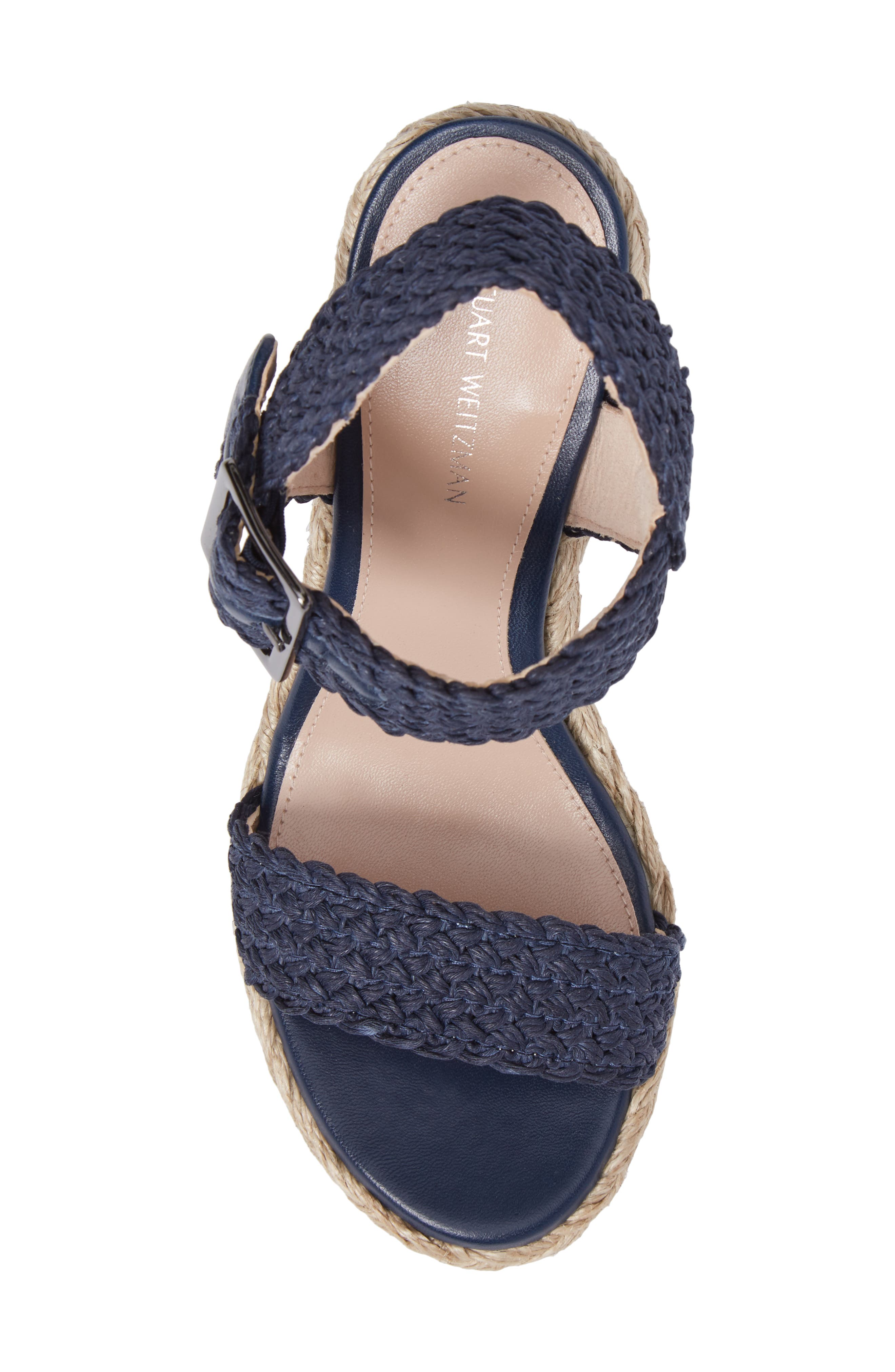 Alexis Espadrille Platform Wedge,                             Alternate thumbnail 5, color,                             Nice Blue Crochet