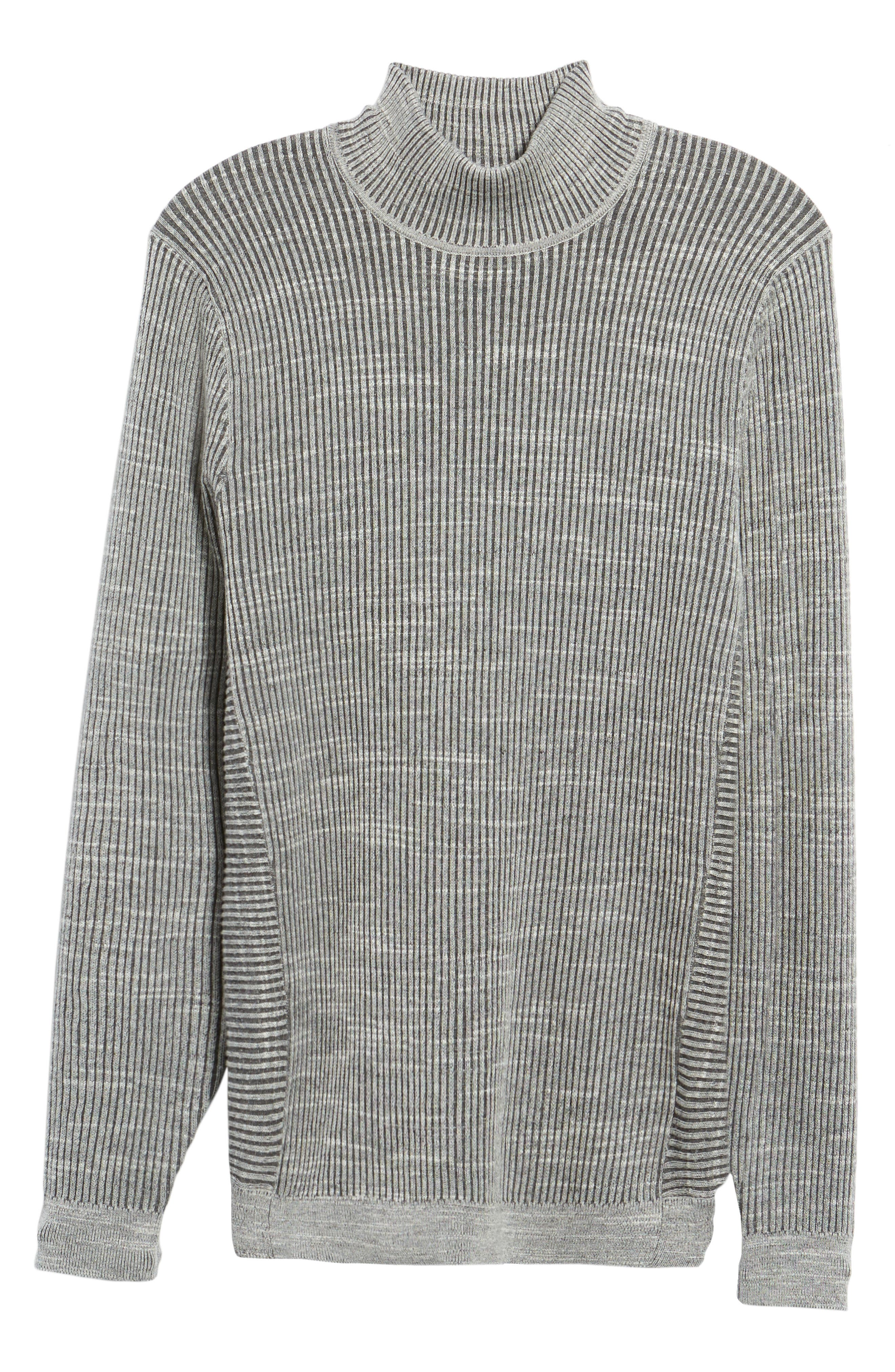Mock Neck Sweater,                             Alternate thumbnail 6, color,                             Grey Dark Charcoal