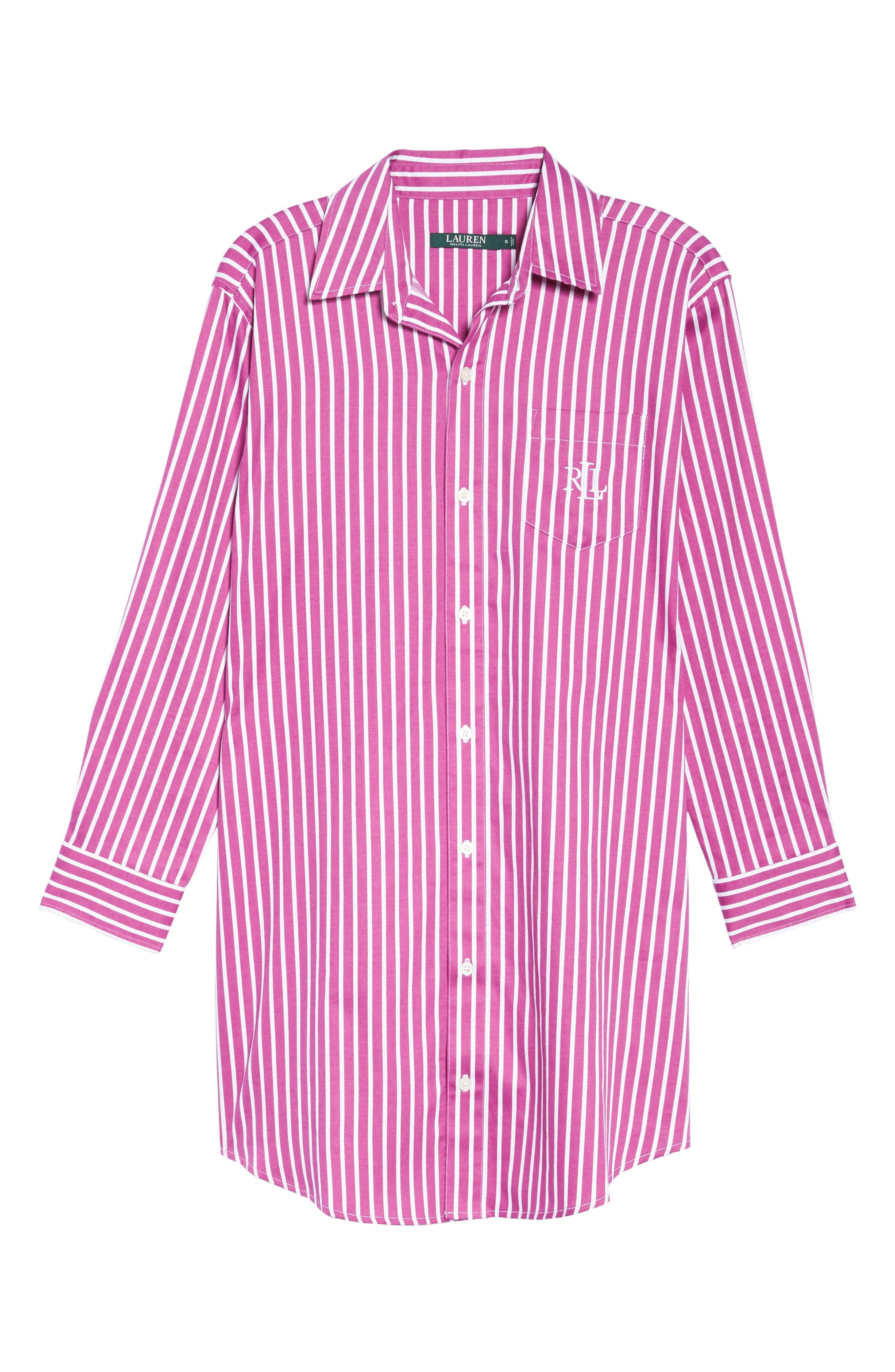 Sleep Shirt,                             Alternate thumbnail 6, color,                             Pink/ White Stripe