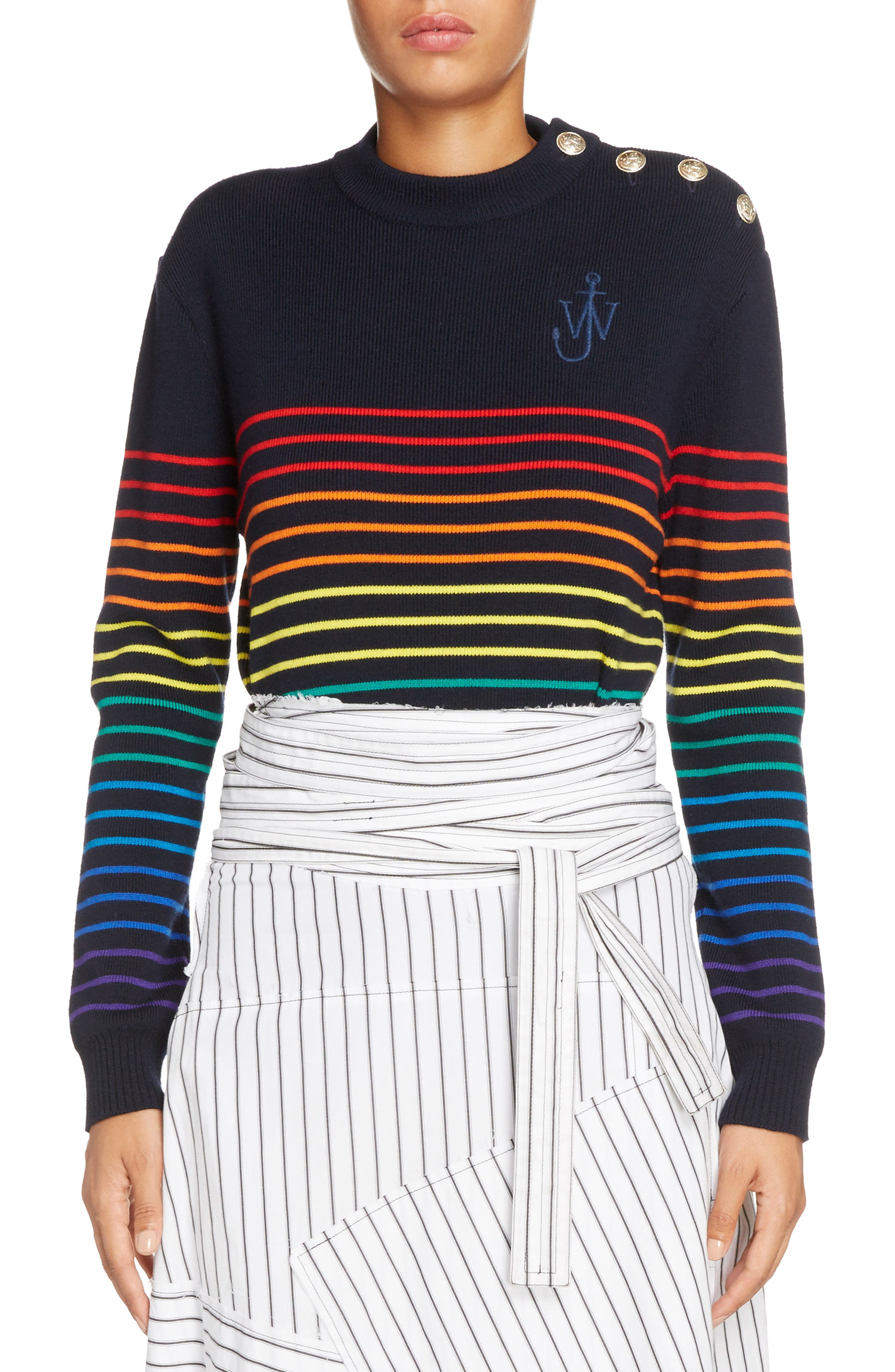 Marinière Stripe Wool Sweater,                             Main thumbnail 1, color,                             Navy Multi
