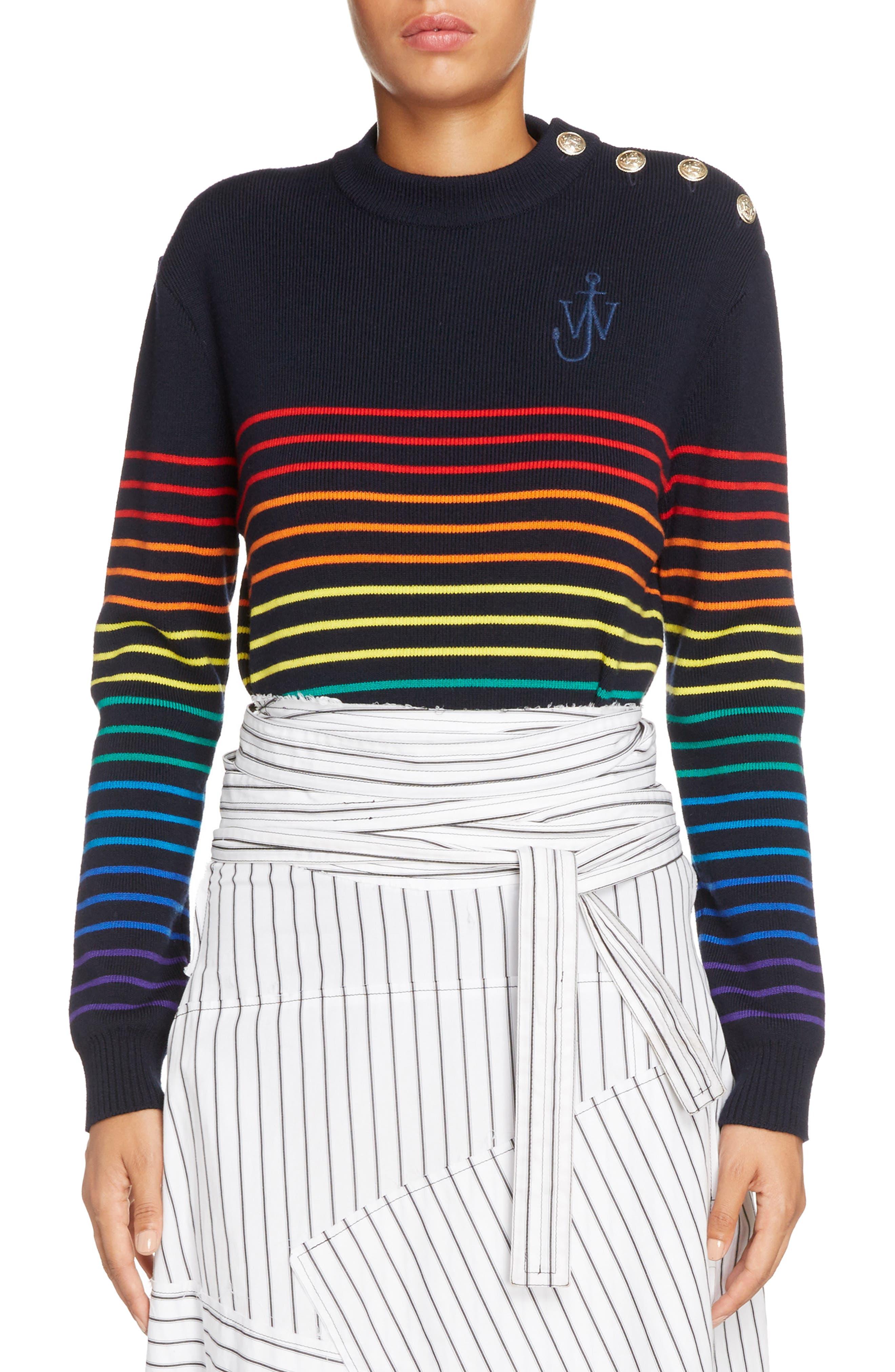 Marinière Stripe Wool Sweater,                         Main,                         color, Navy Multi