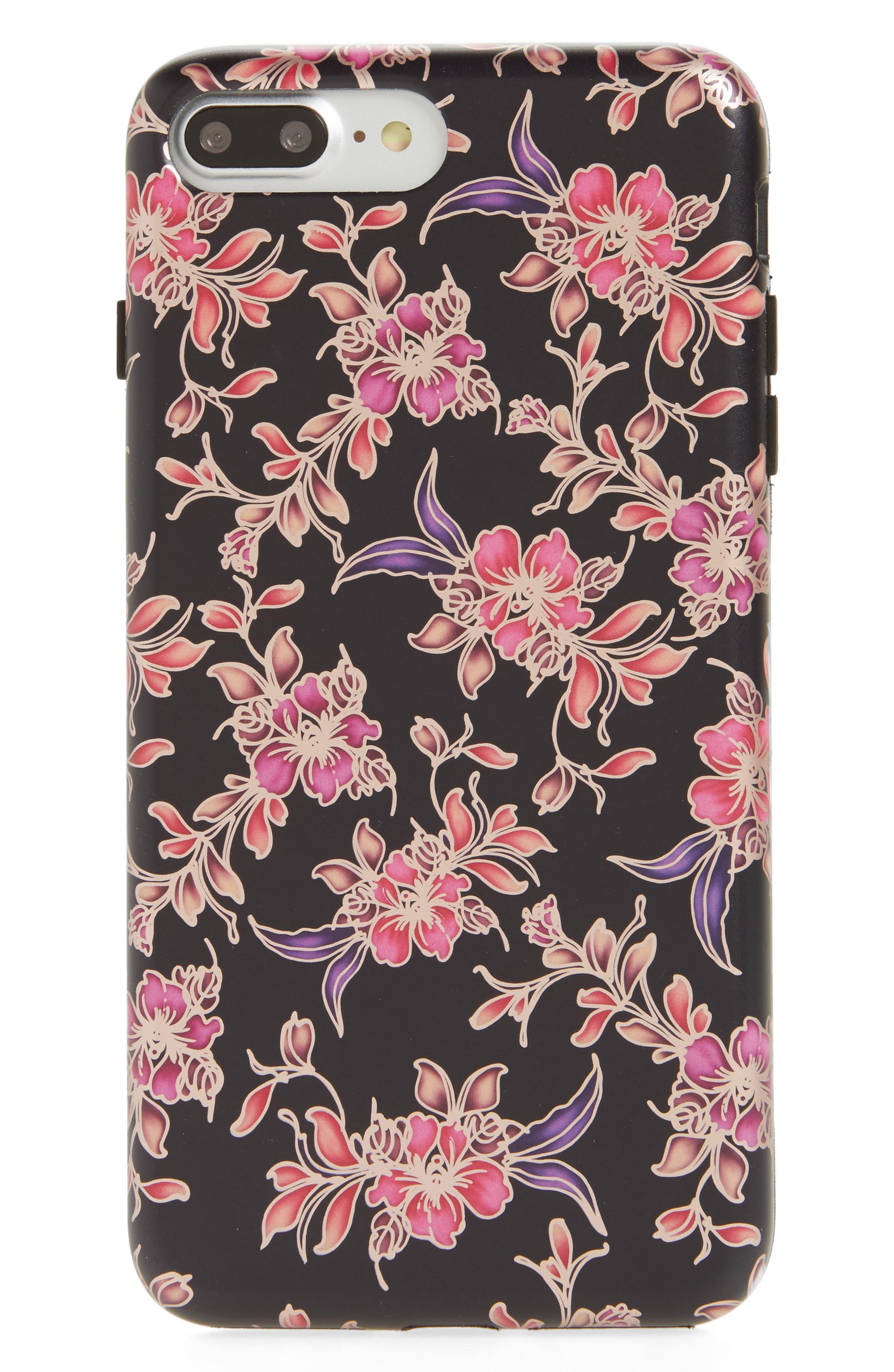 Midnight Floral Chrome iPhone 7/8 Plus Case,                             Main thumbnail 1, color,                             Black