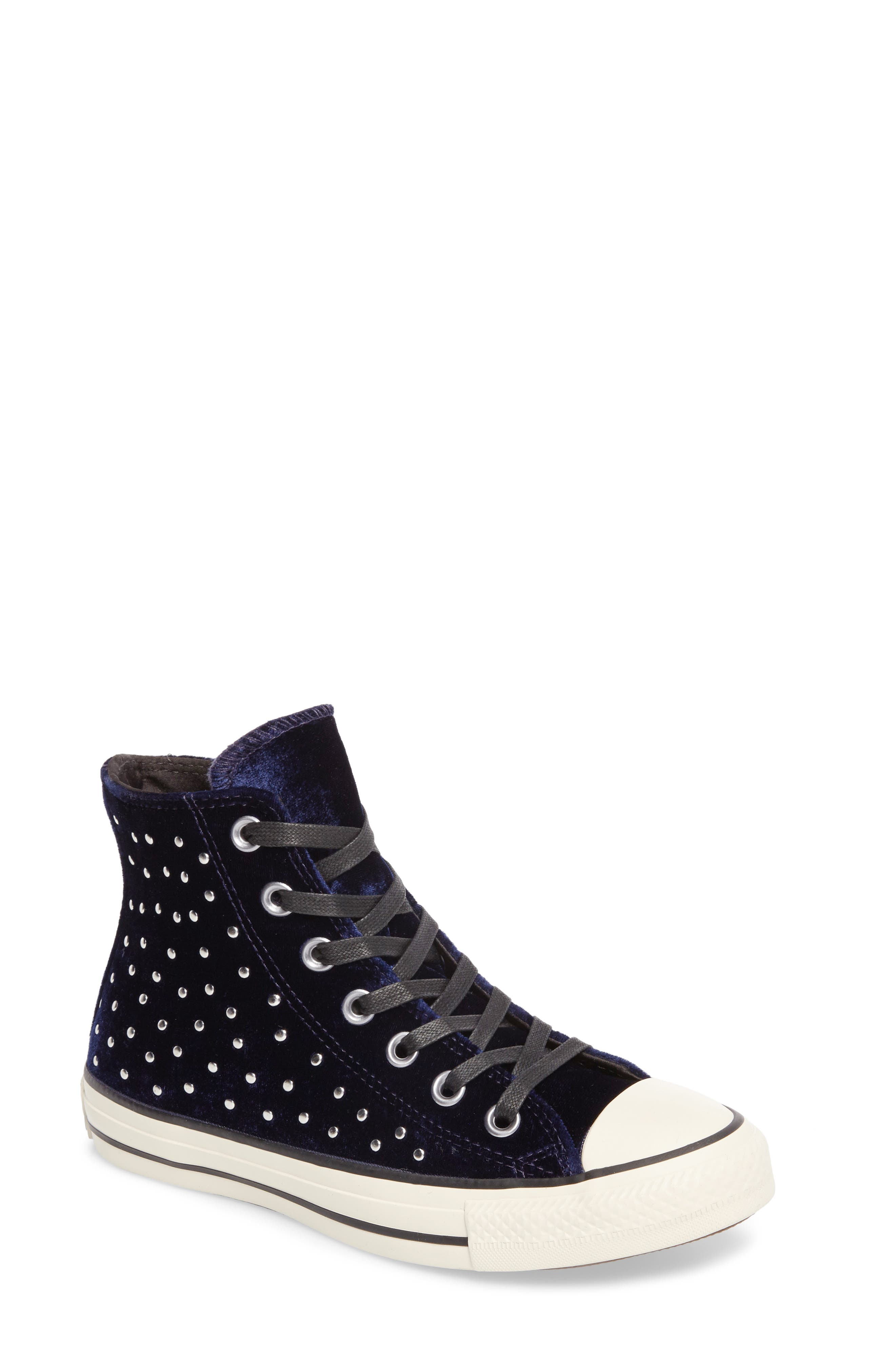 Chuck Taylor<sup>®</sup> All Star<sup>®</sup> Studded High Top Sneakers,                         Main,                         color, Eclipse Velvet