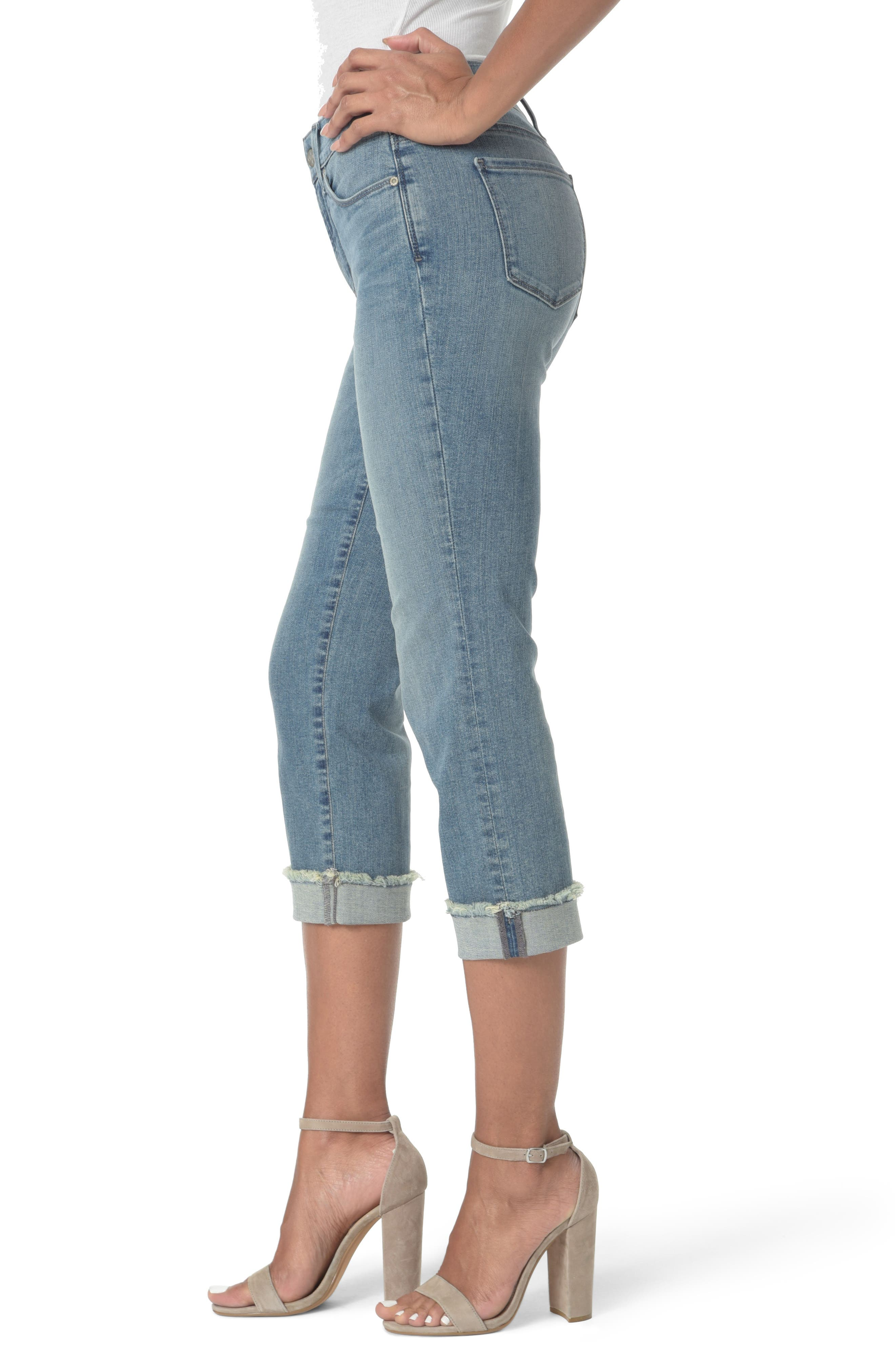 Marilyn Cropped Cuff Jeans,                             Alternate thumbnail 3, color,                             Pacific