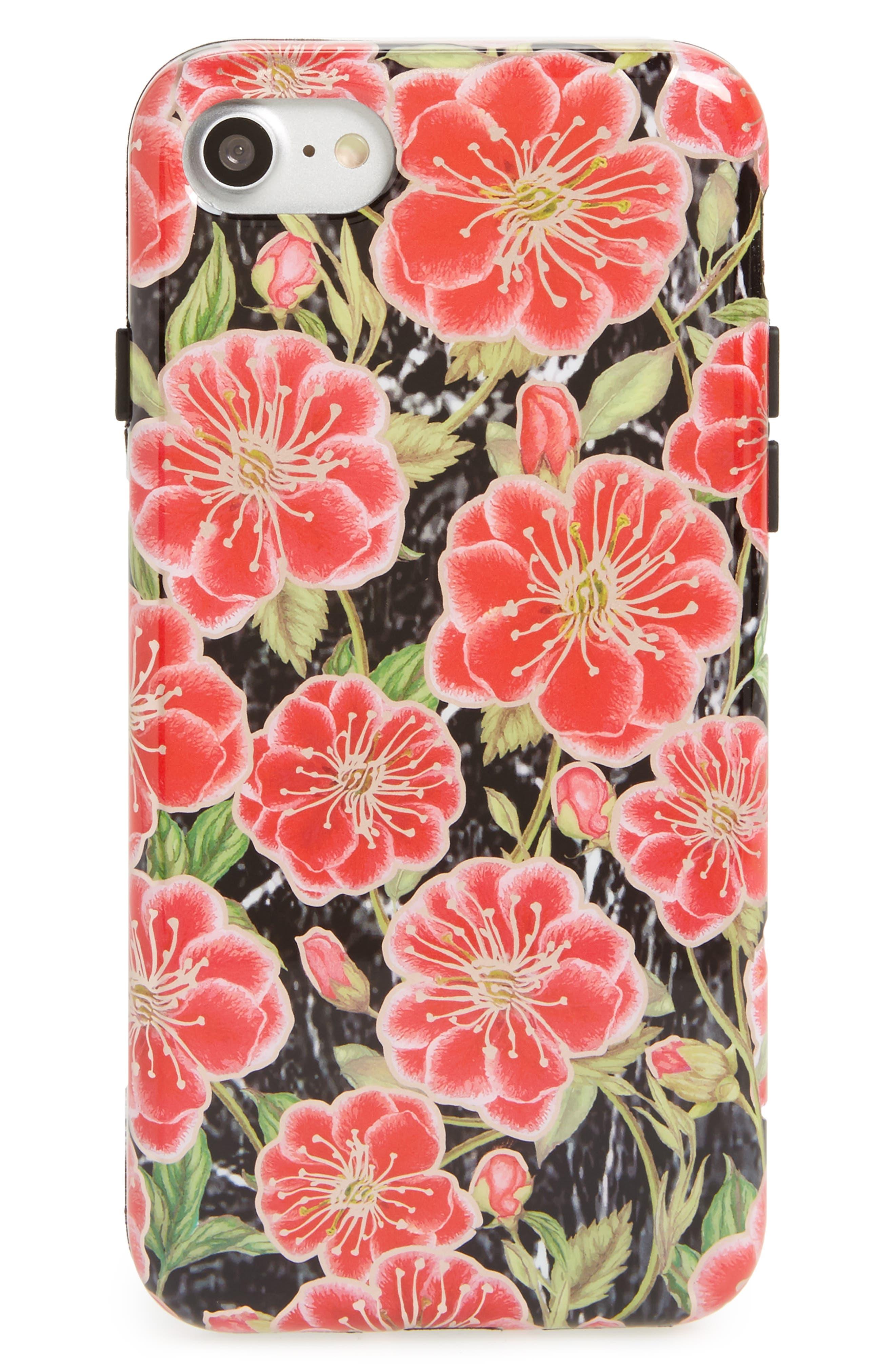 Black Hibiscus Chrome iPhone 7/8 Case,                         Main,                         color, Red
