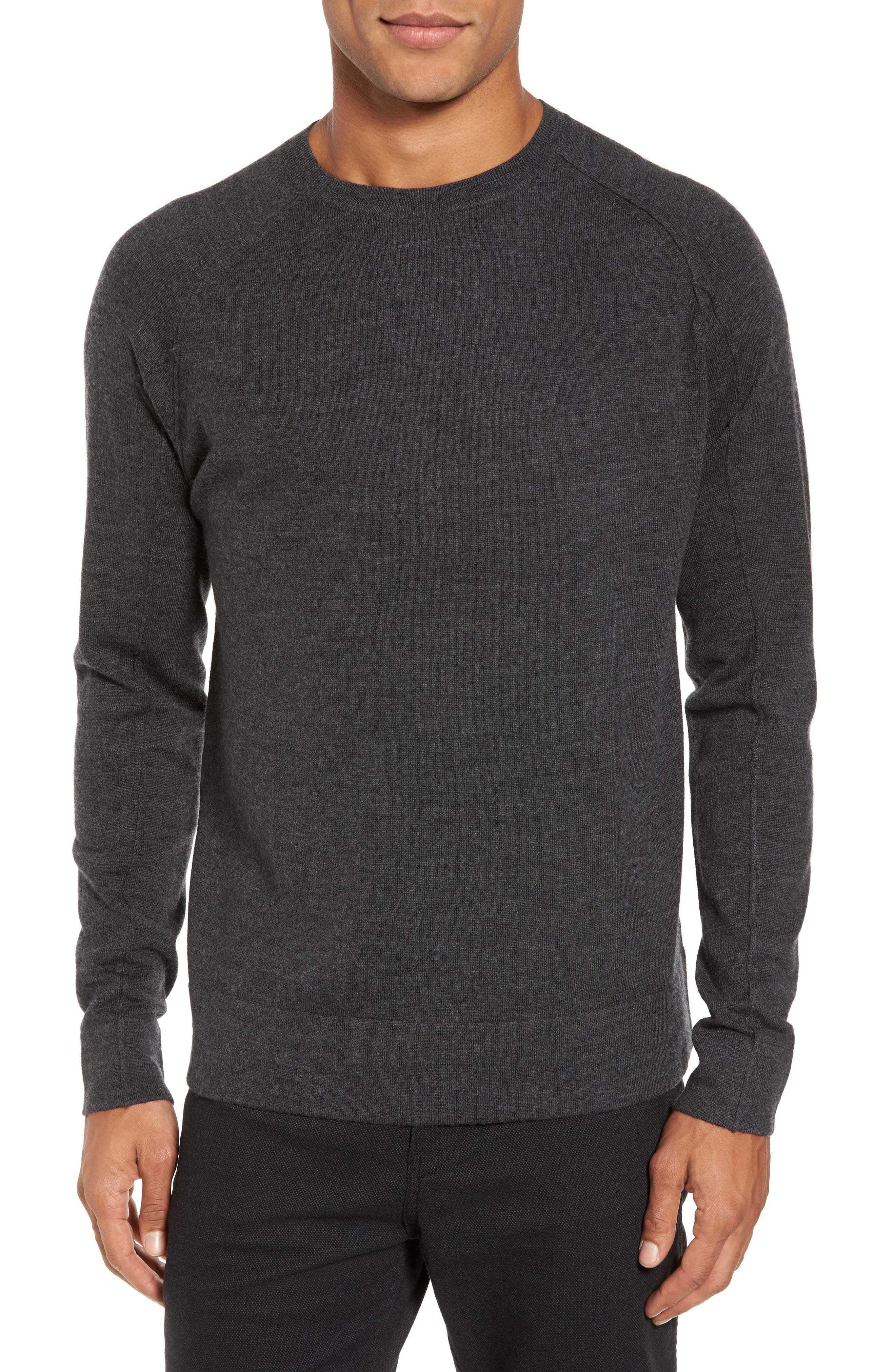 Superlight Slim Modern Wool Sweater,                         Main,                         color, Charcoal