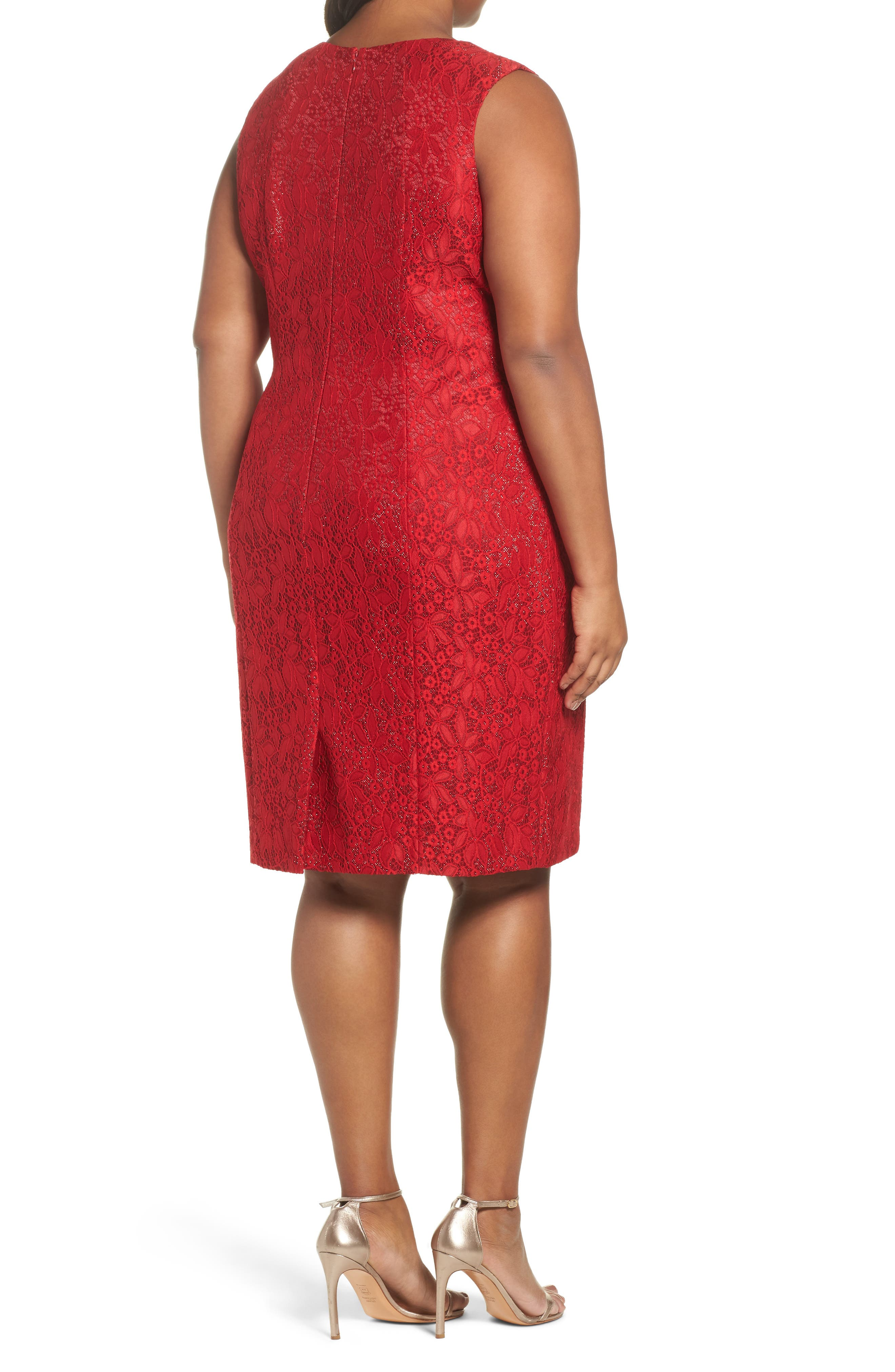Shimmer Lace Sheath Dress,                             Alternate thumbnail 2, color,                             Lipstick Red