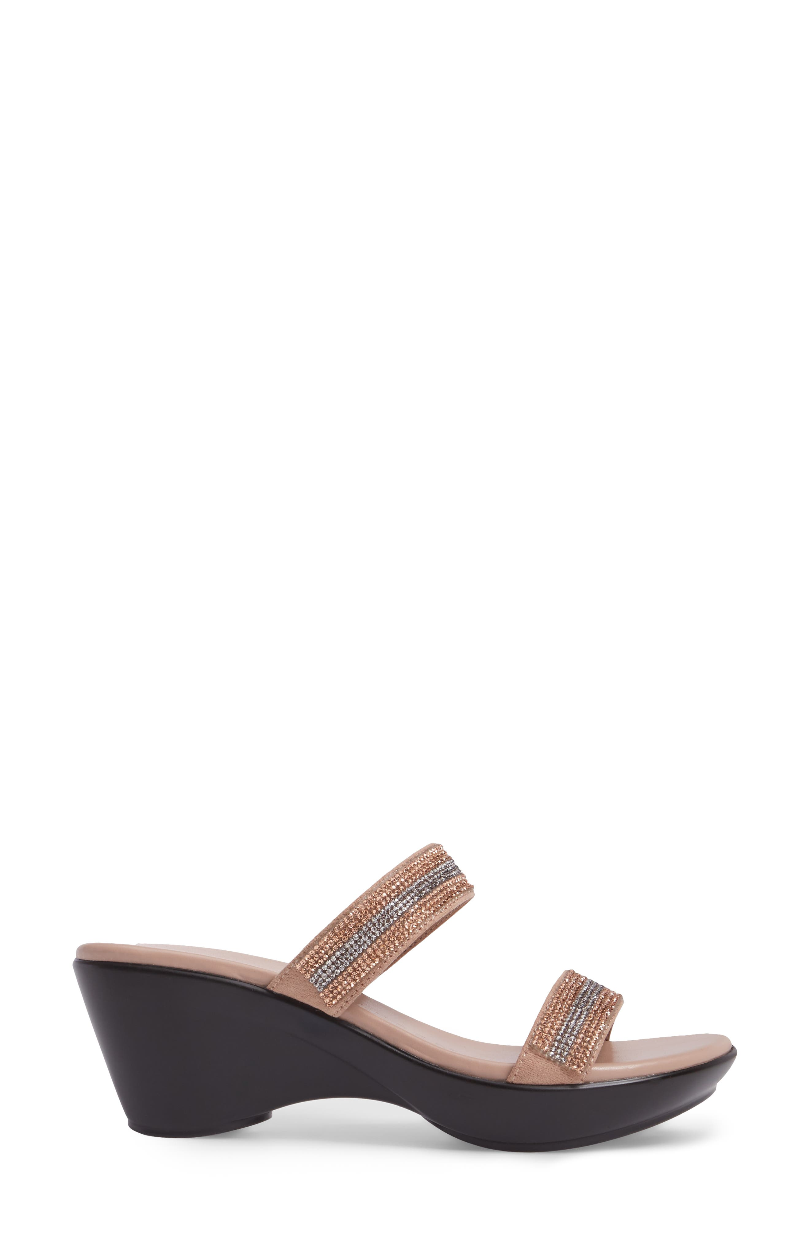 Arlo Wedge Sandal,                             Alternate thumbnail 3, color,                             Rose Gold Synthetic