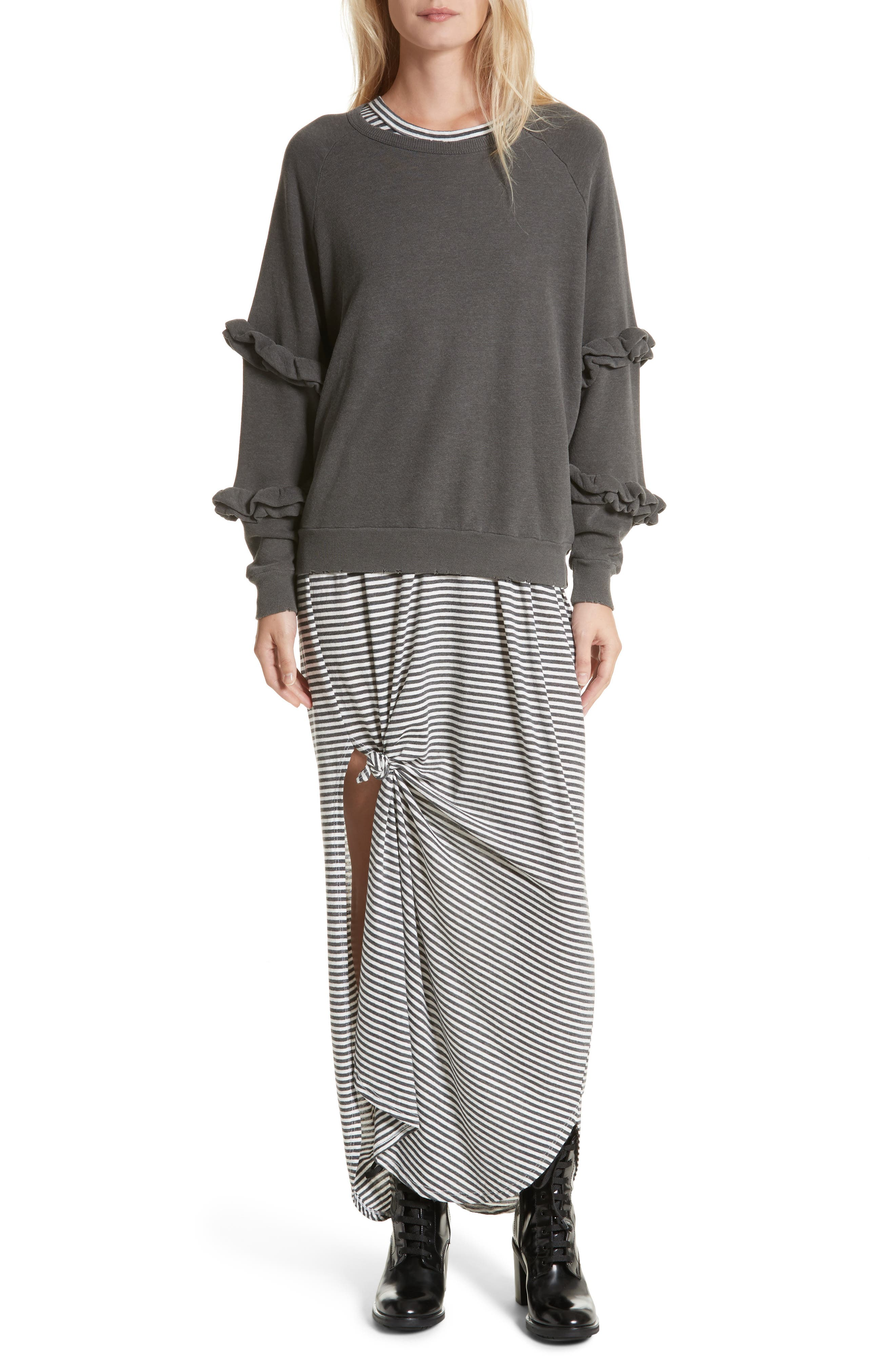 The Knotted Tee Dress,                             Alternate thumbnail 2, color,                             Smoke Stripe
