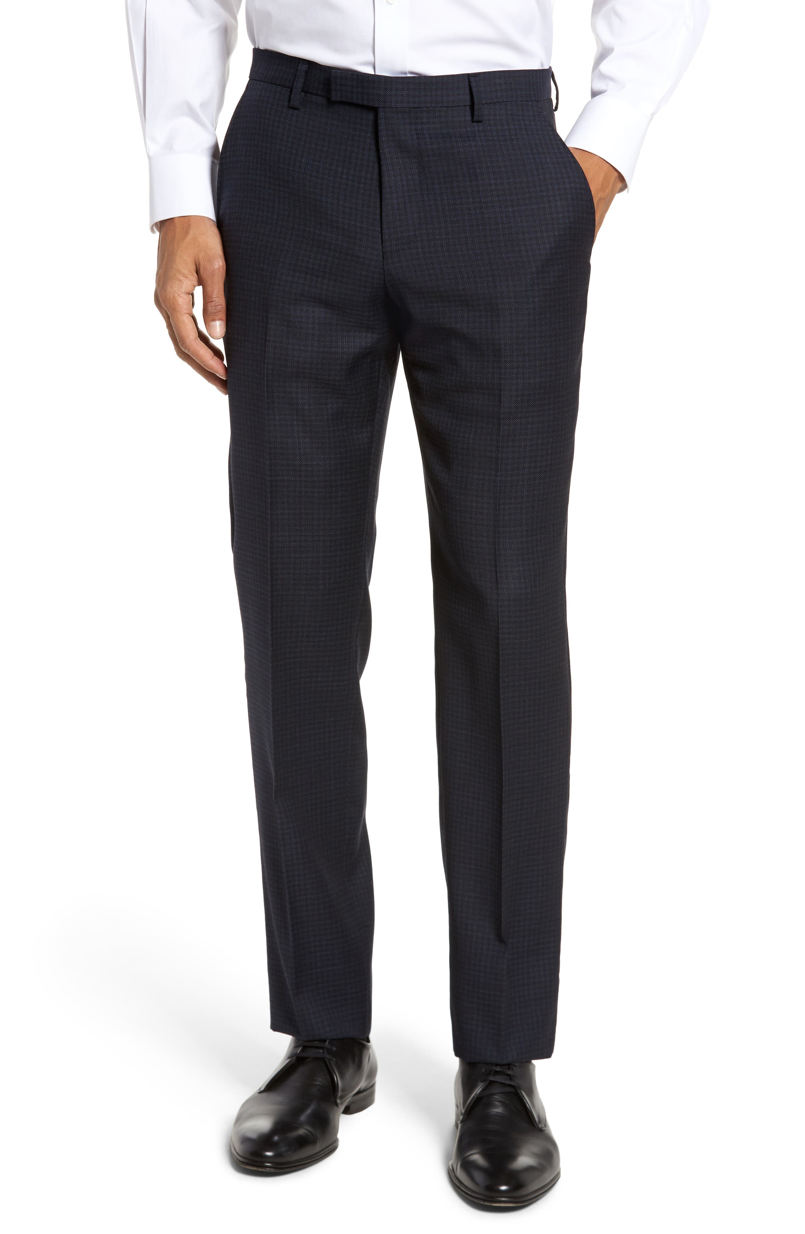 BOSS Leenon Flat Front Regular Fit Check Wool Trousers