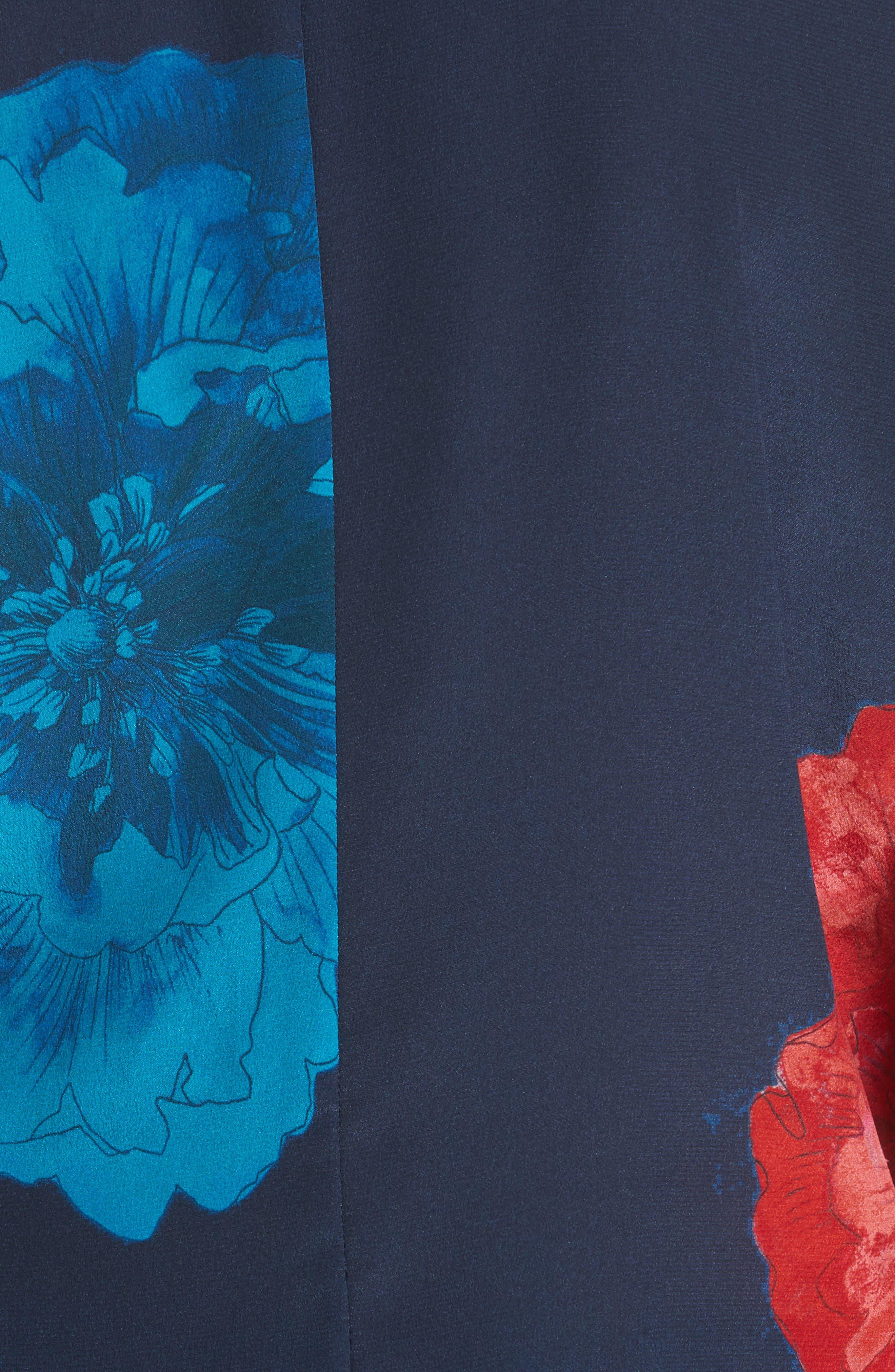 Floral Surplice Silk Blouse,                             Alternate thumbnail 5, color,                             Large Red Blossoms