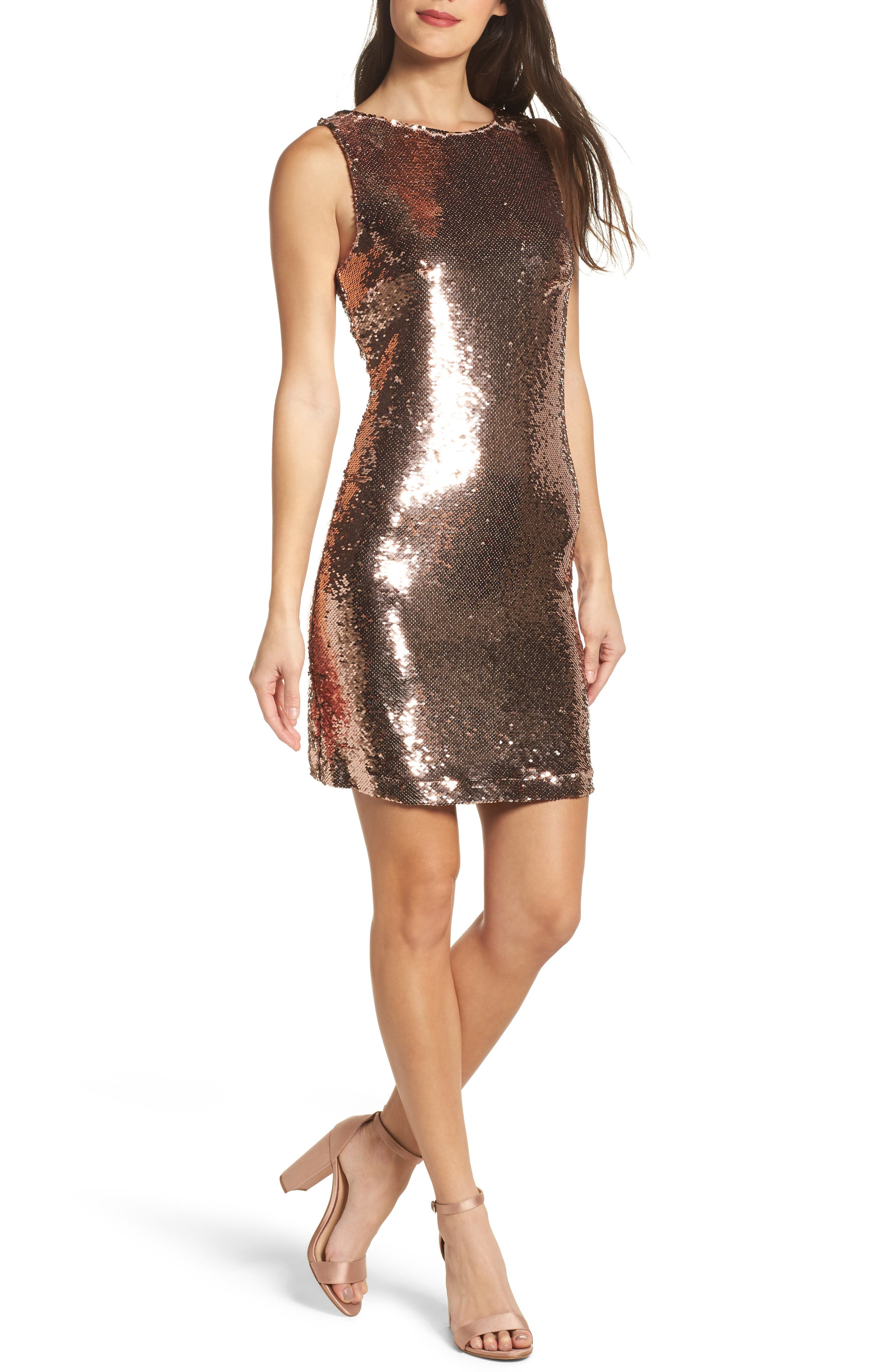 Garland Sequin Sheath Dress,                         Main,                         color, Rose Gold