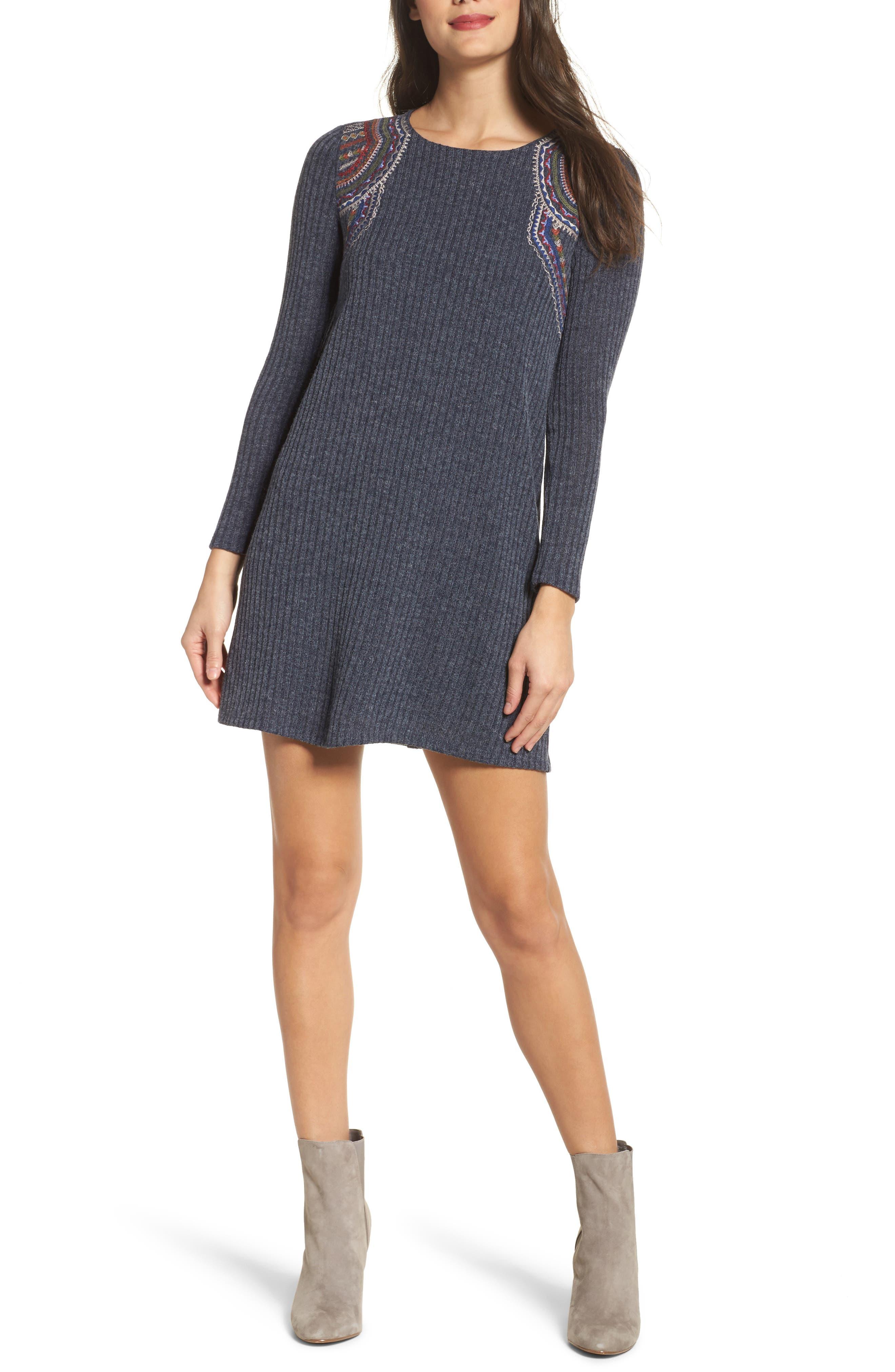 Knit Shift Dress,                         Main,                         color, Navy