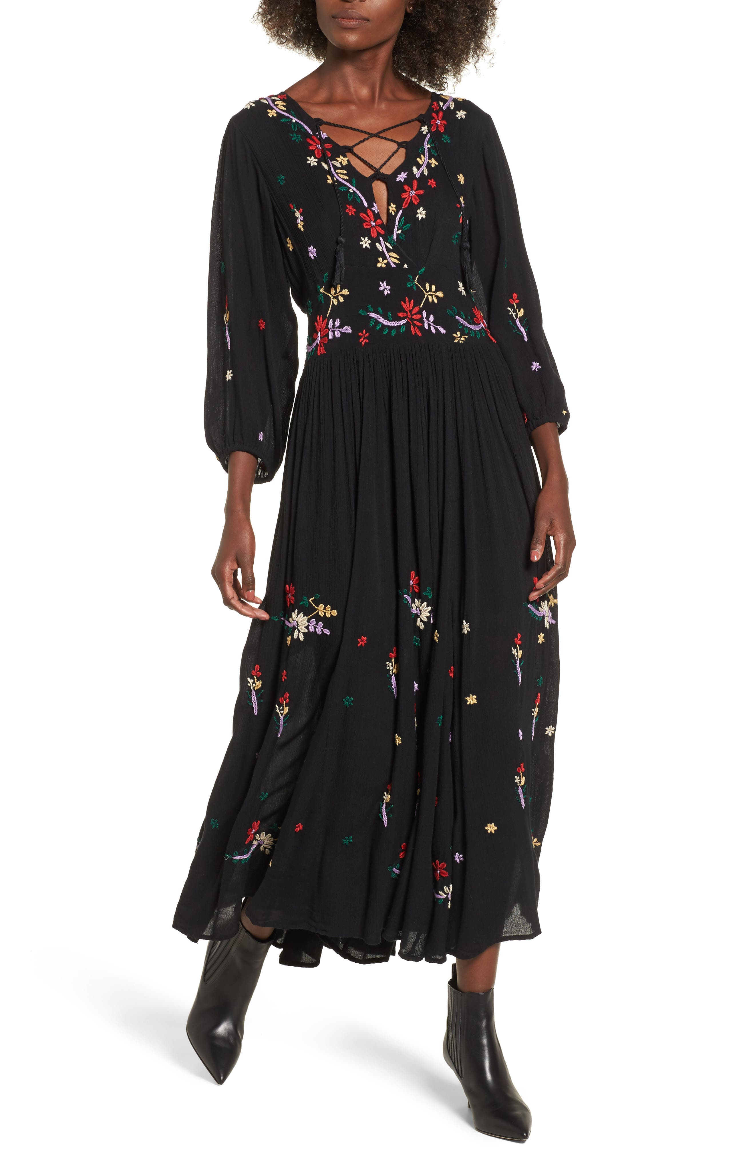 Sammy Embroidered Dress,                             Main thumbnail 1, color,                             Black