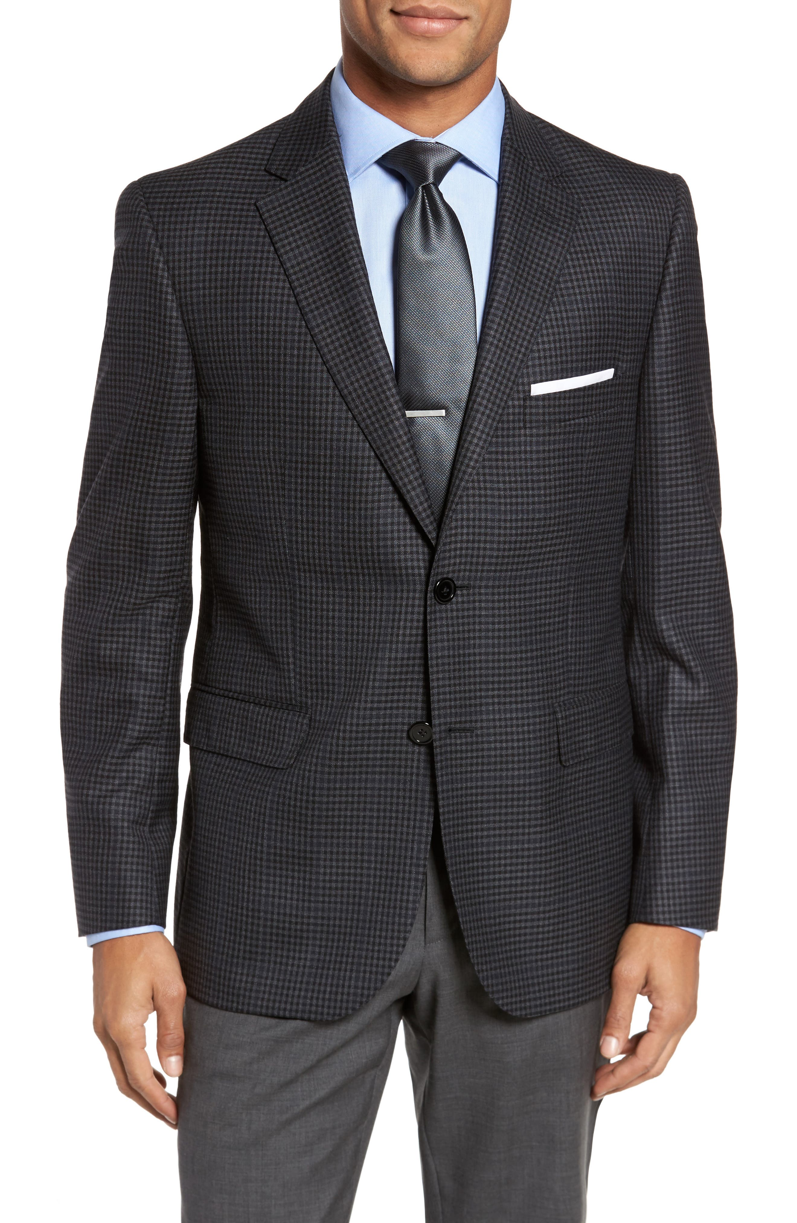 JB Britches Classic Fit Plaid Wool Sport Coat