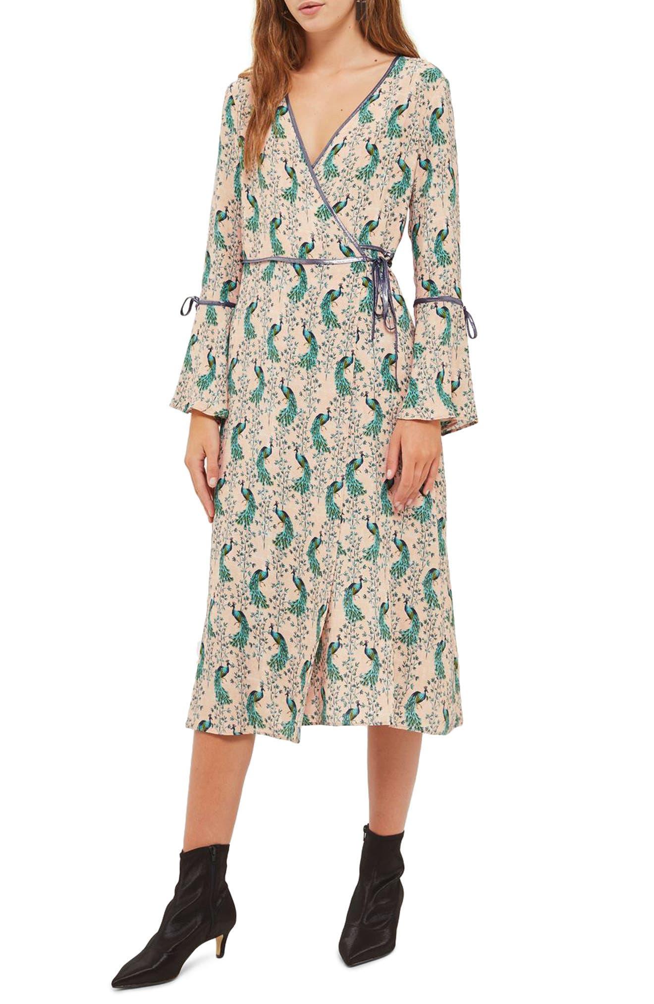 Topshop Peacock Midi Wrap Dress