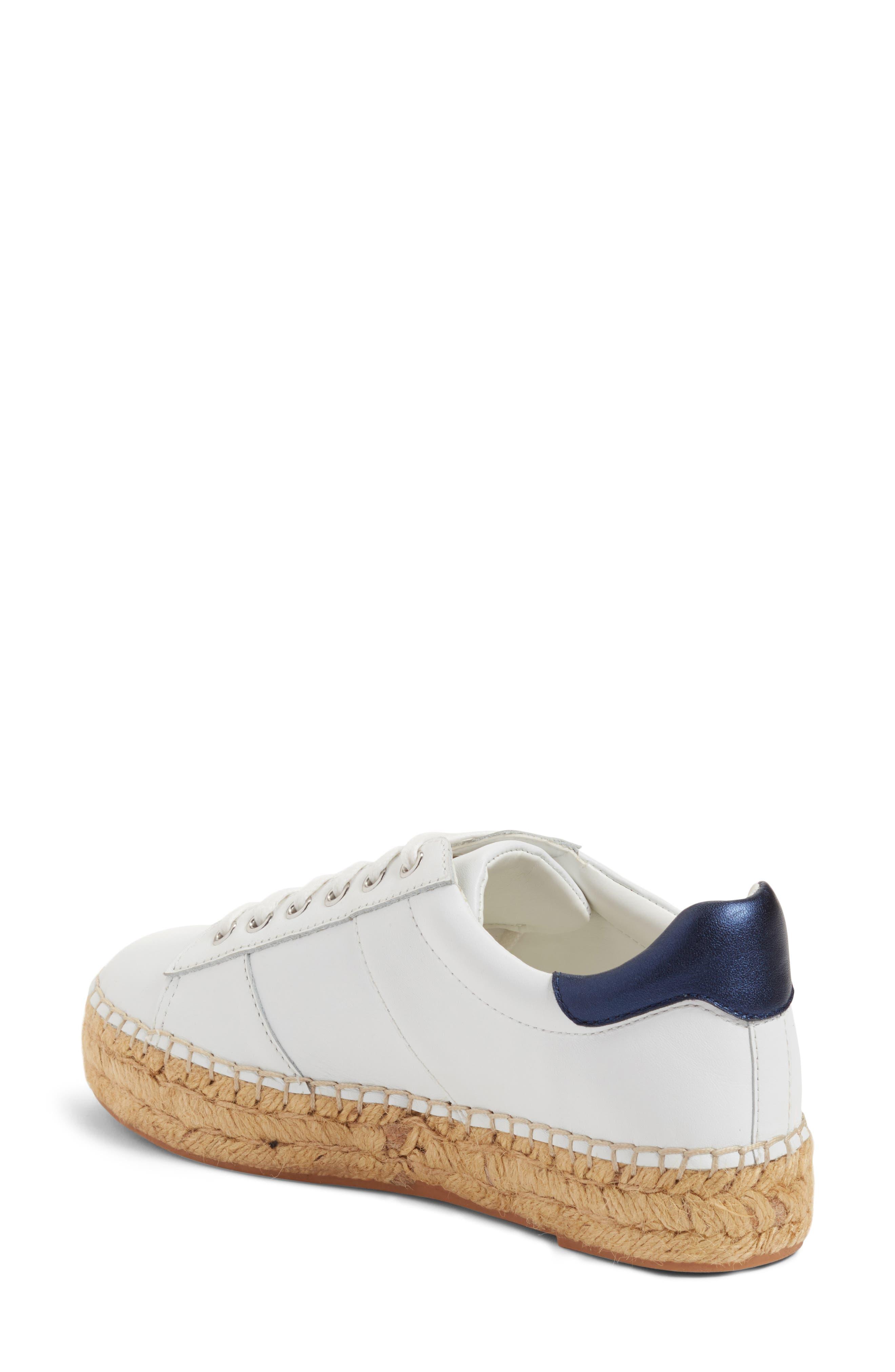 Marge Espadrille Platform Sneaker,                             Alternate thumbnail 2, color,                             White/ Navy Leather