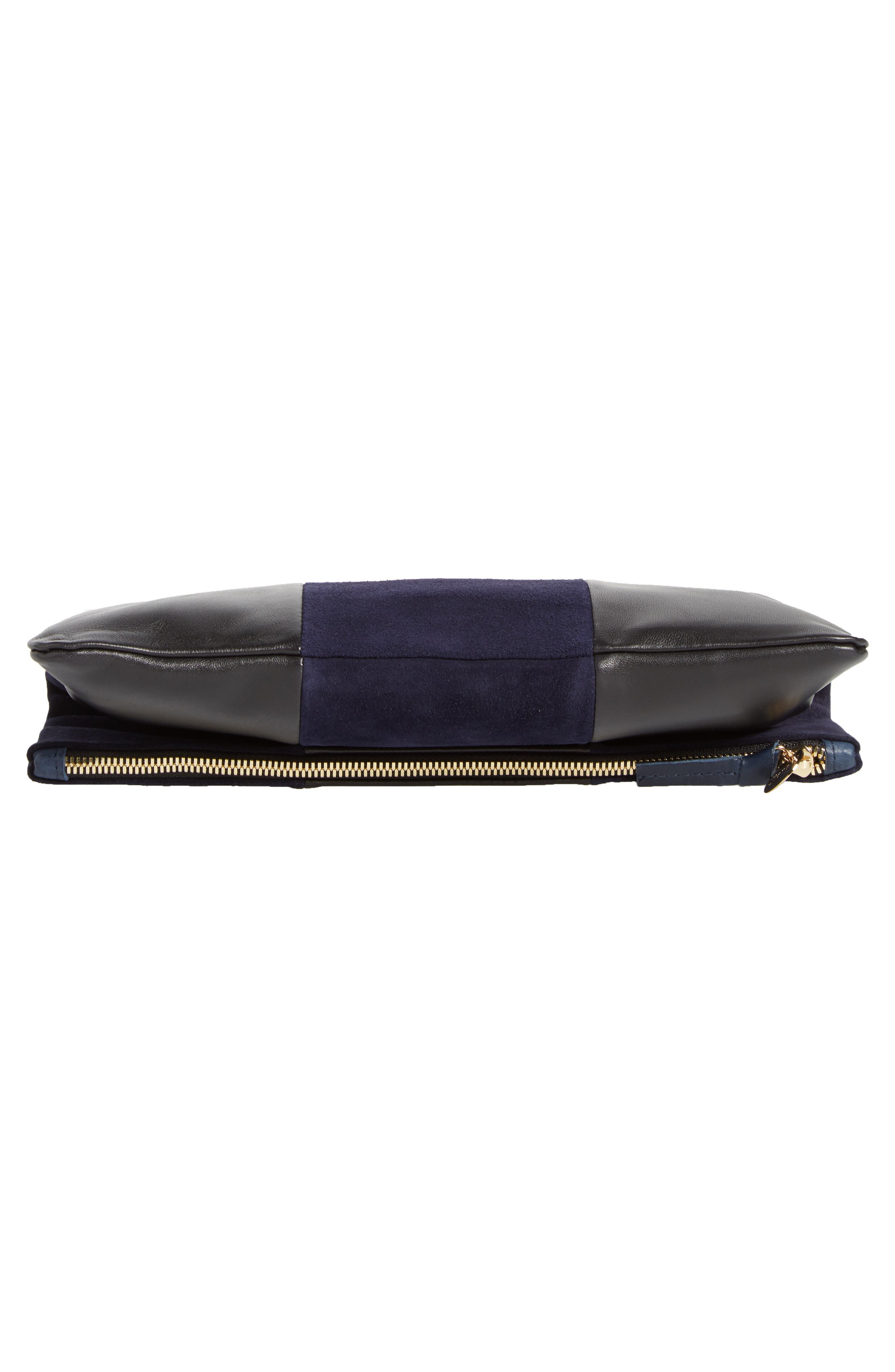 Leather & Suede Foldover Clutch,                             Alternate thumbnail 6, color,                             Black Nappa/ Navy Suede