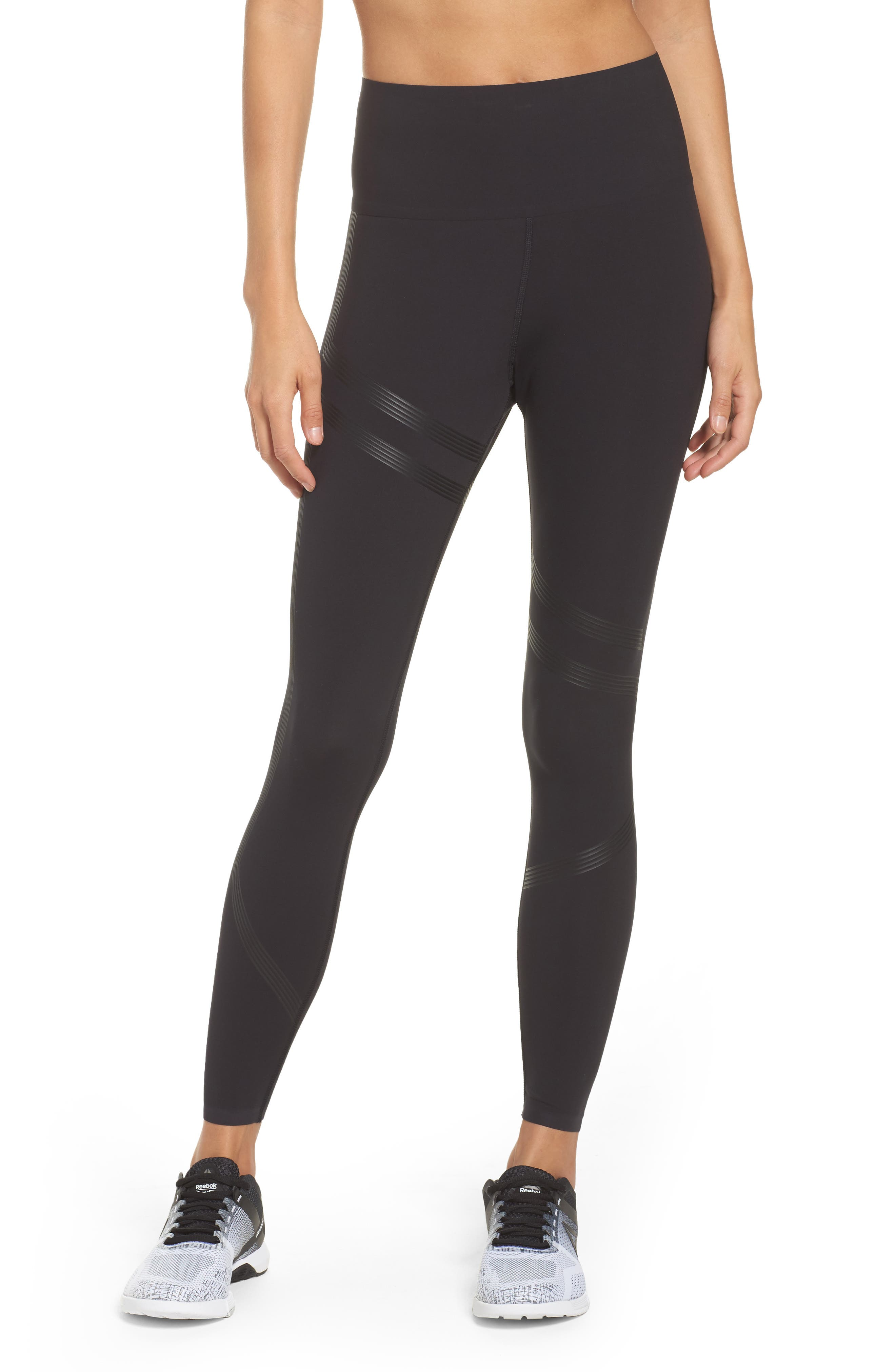 Linear High Rise Performance Tights,                         Main,                         color, Black