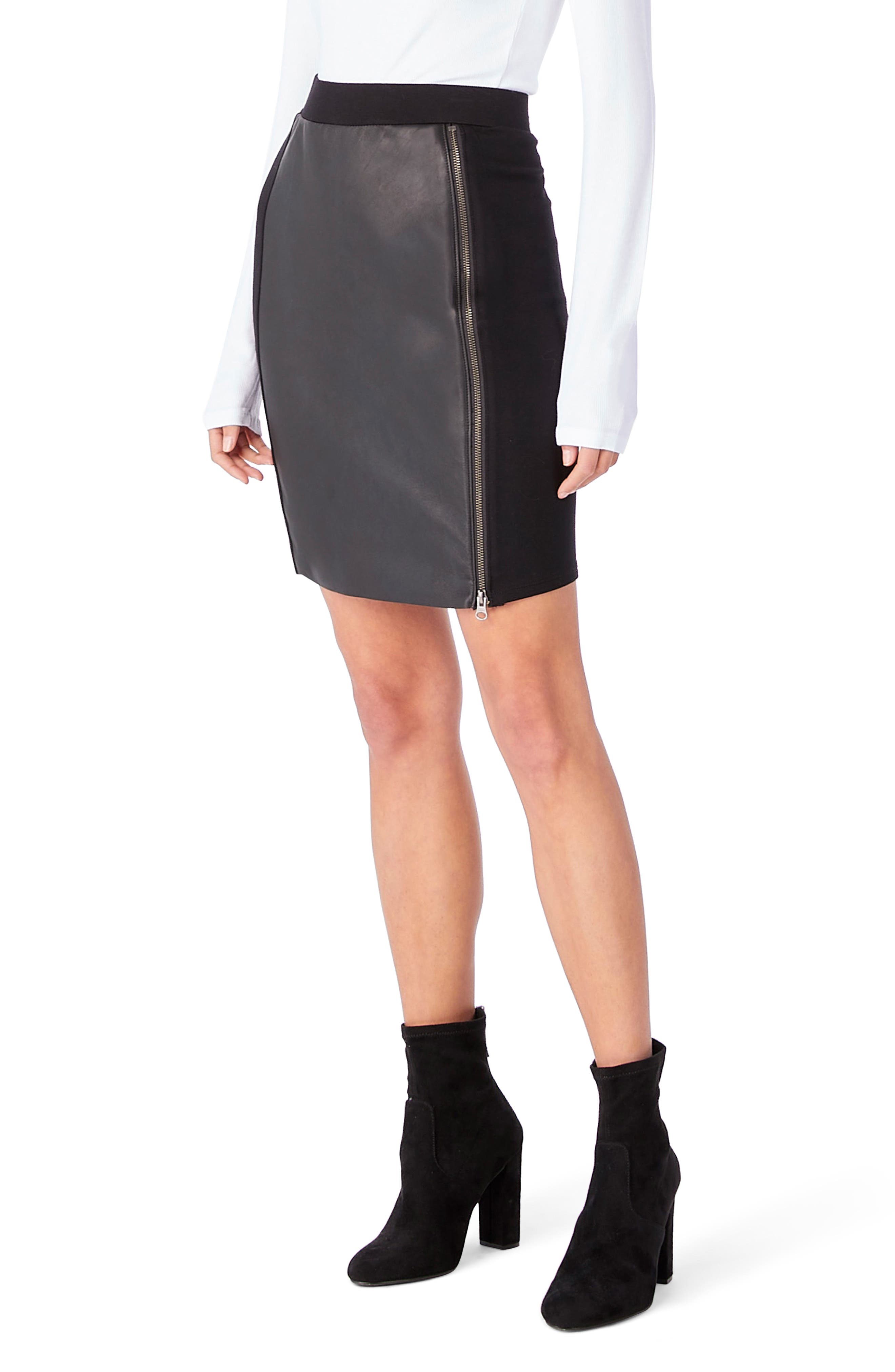 Leather Contrast Zipper Skirt,                         Main,                         color, Black