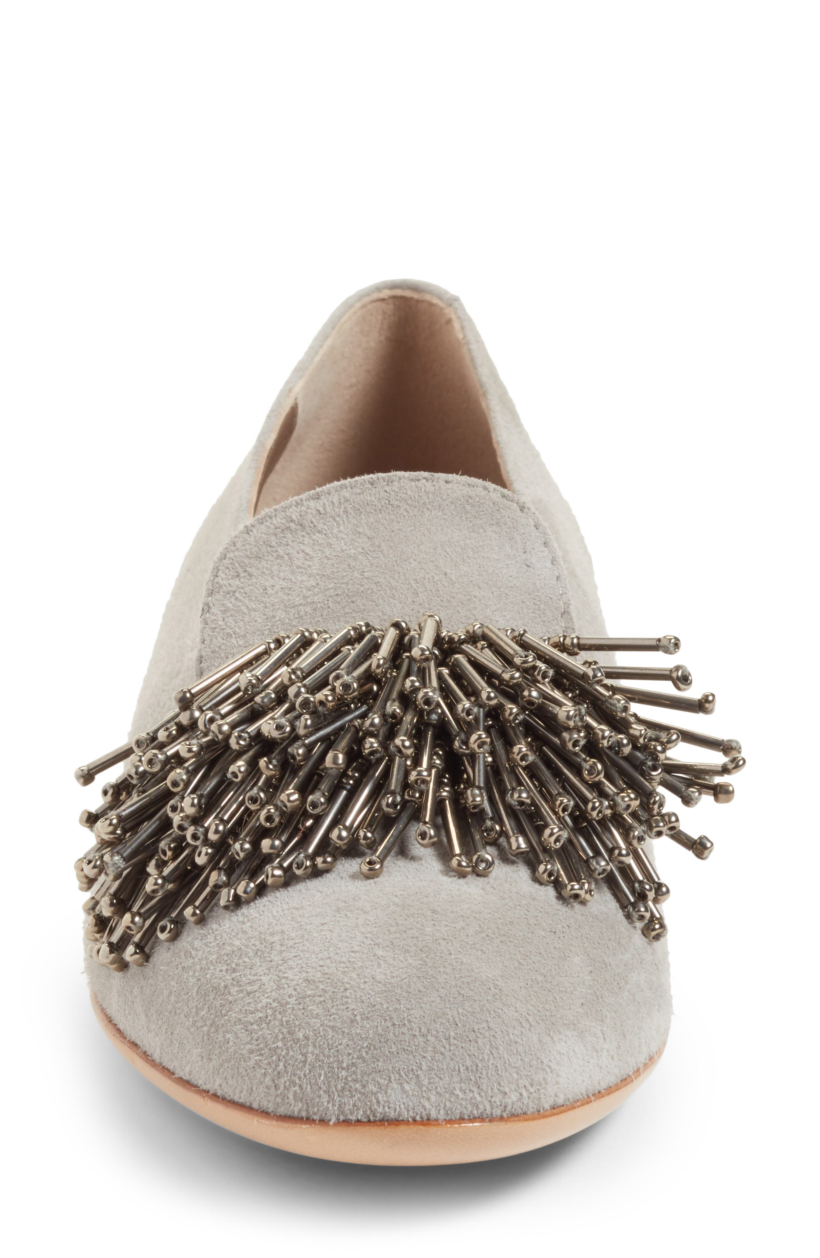 Beaded Loafer,                             Alternate thumbnail 4, color,                             Cube Grey Suede