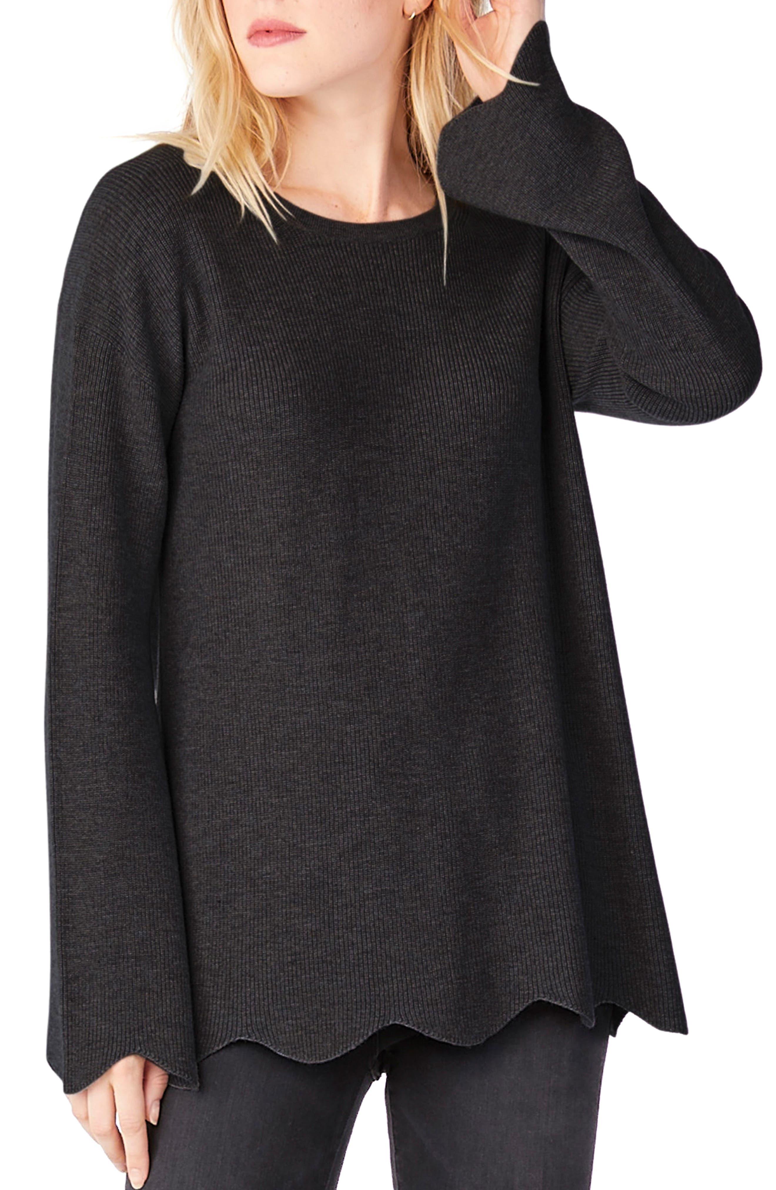 Crewneck Scalloped Hem Sweater,                         Main,                         color, Black